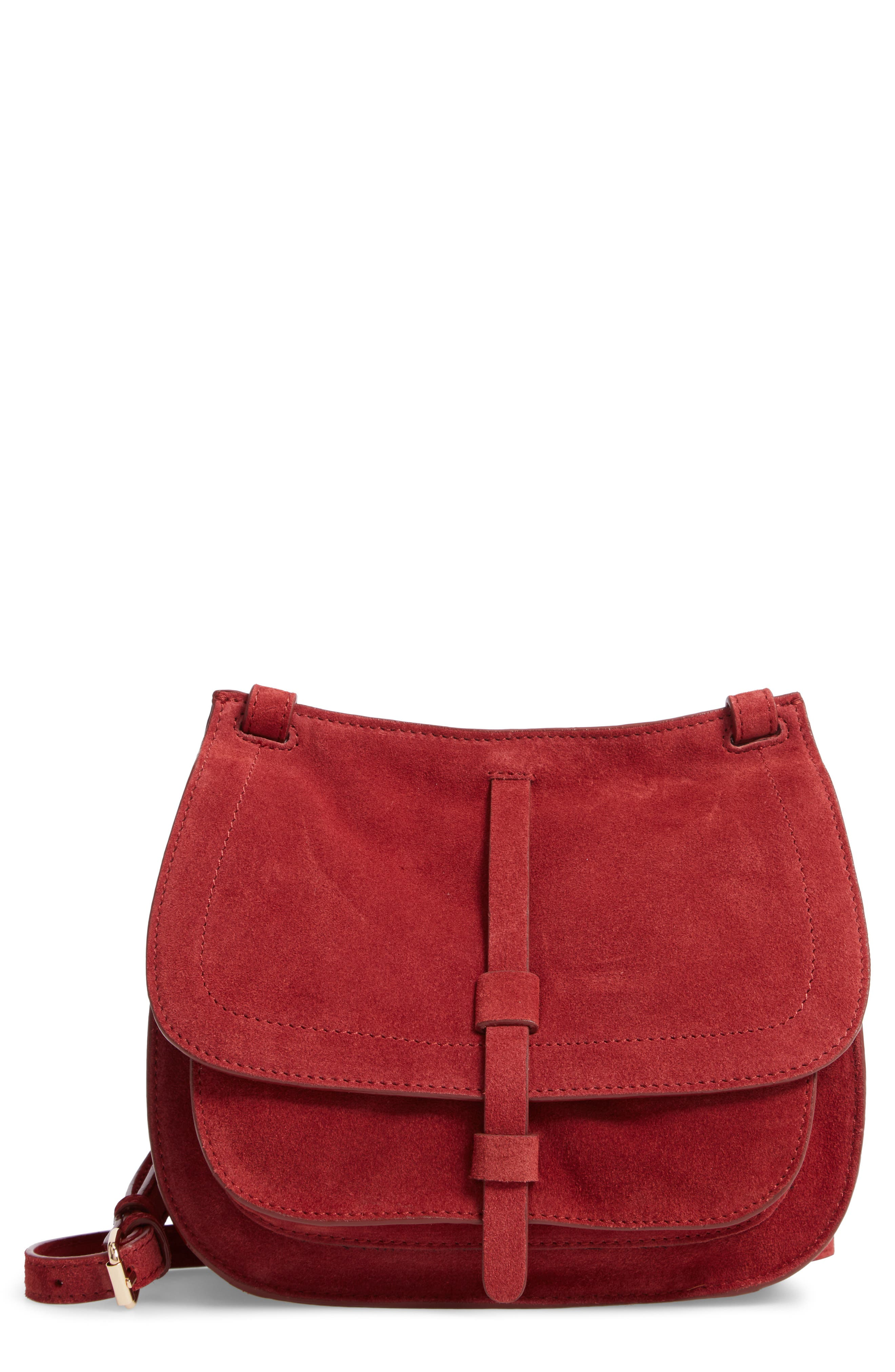 LEITH,                             Suede Crossbody Saddle Bag,                             Main thumbnail 1, color,                             805