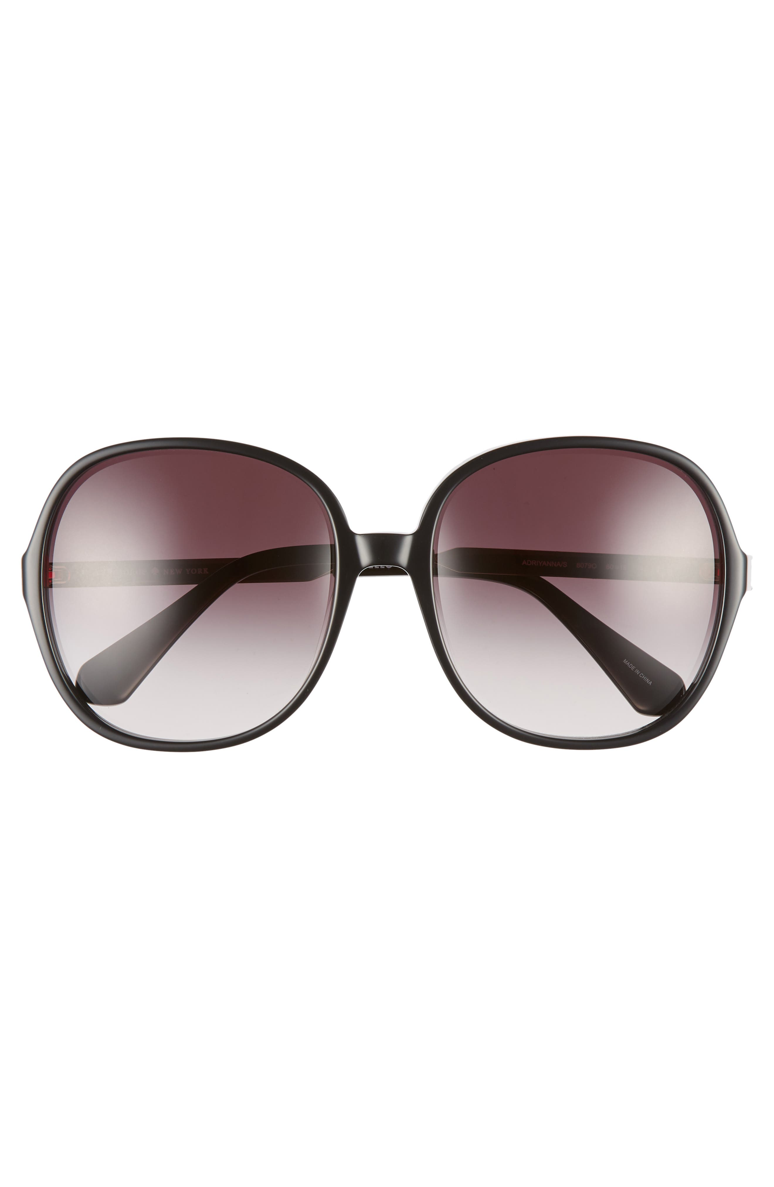 adriyanna 60mm round sunglasses,                             Alternate thumbnail 3, color,                             BLACK