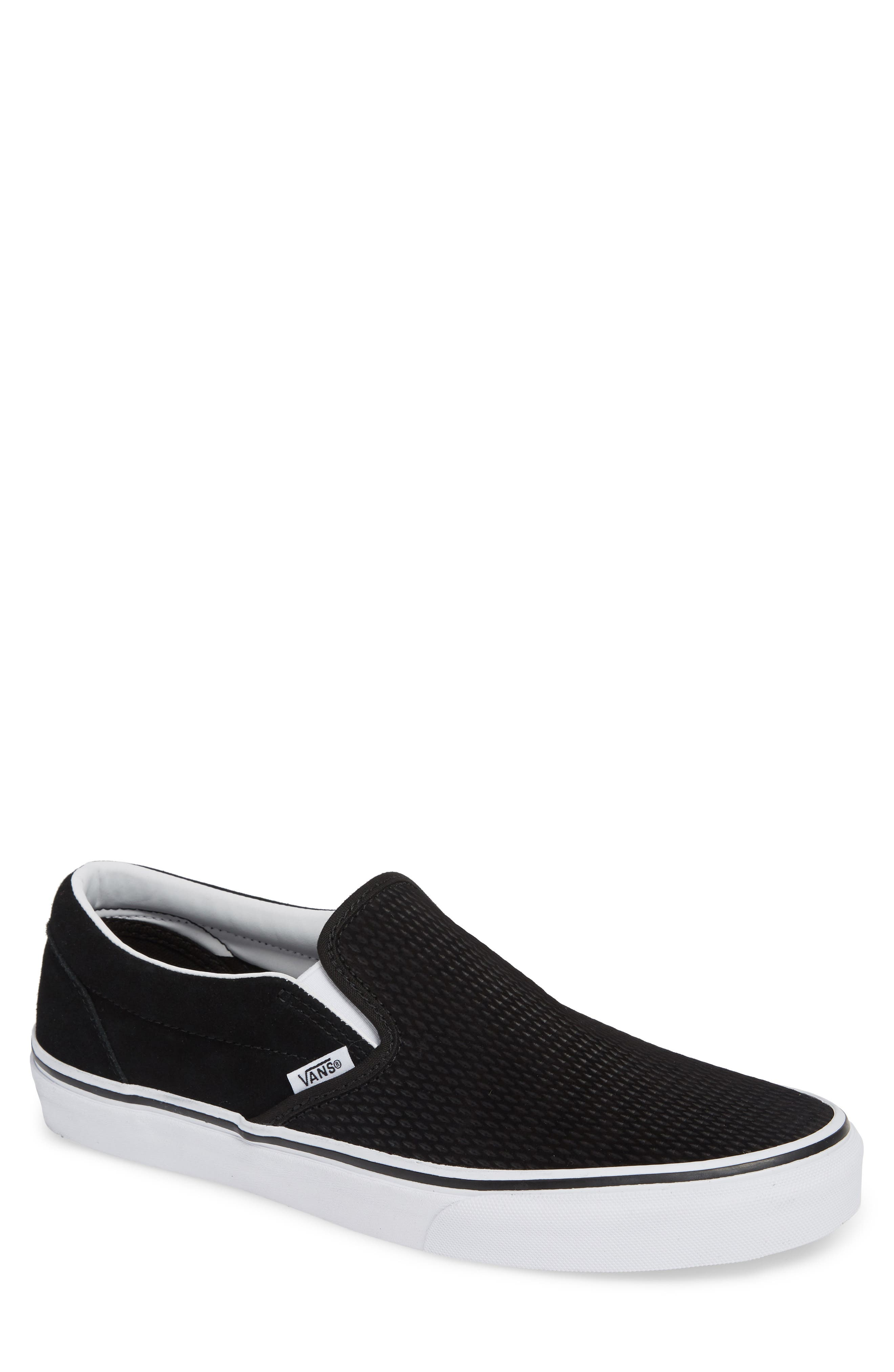 Classic Embossed Suede Slip-On,                             Main thumbnail 1, color,                             BLACK/ TRUE WHITE SUEDE