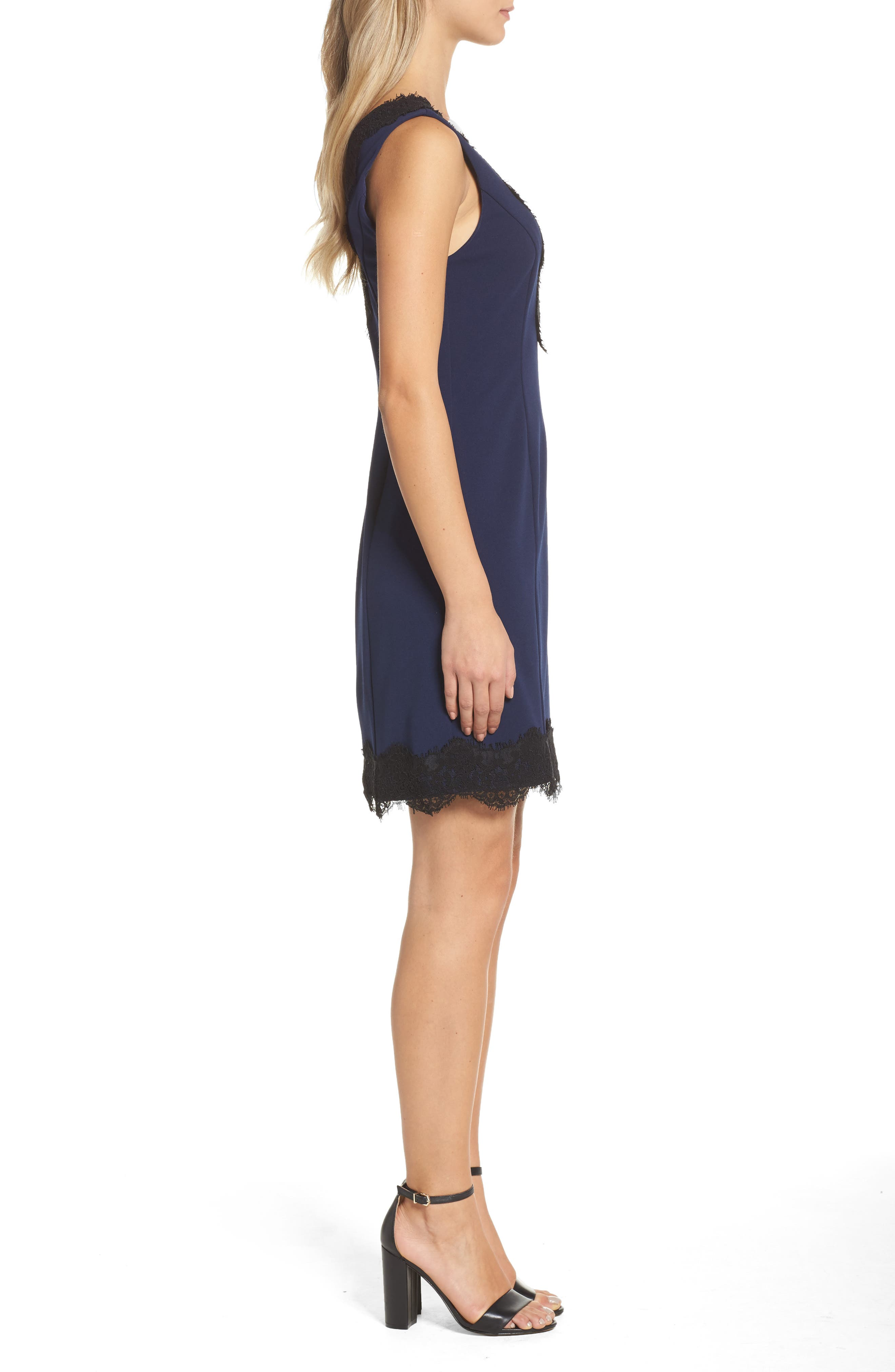 Lace Trim Sheath Dress,                             Alternate thumbnail 3, color,                             410