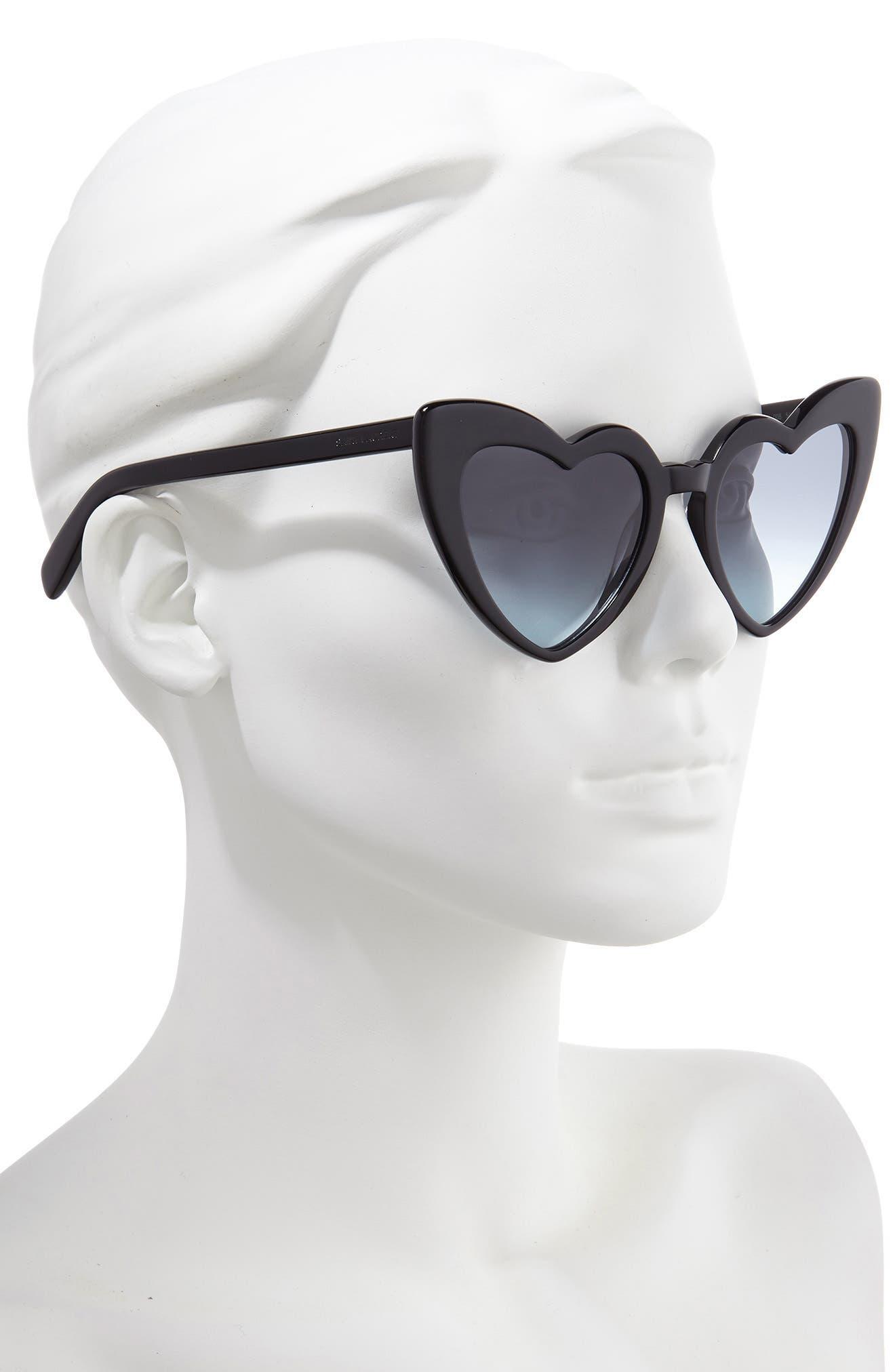 SAINT LAURENT,                             Loulou 54mm Heart Sunglasses,                             Alternate thumbnail 2, color,                             BLACK/ GREY BLUE GRADIENT