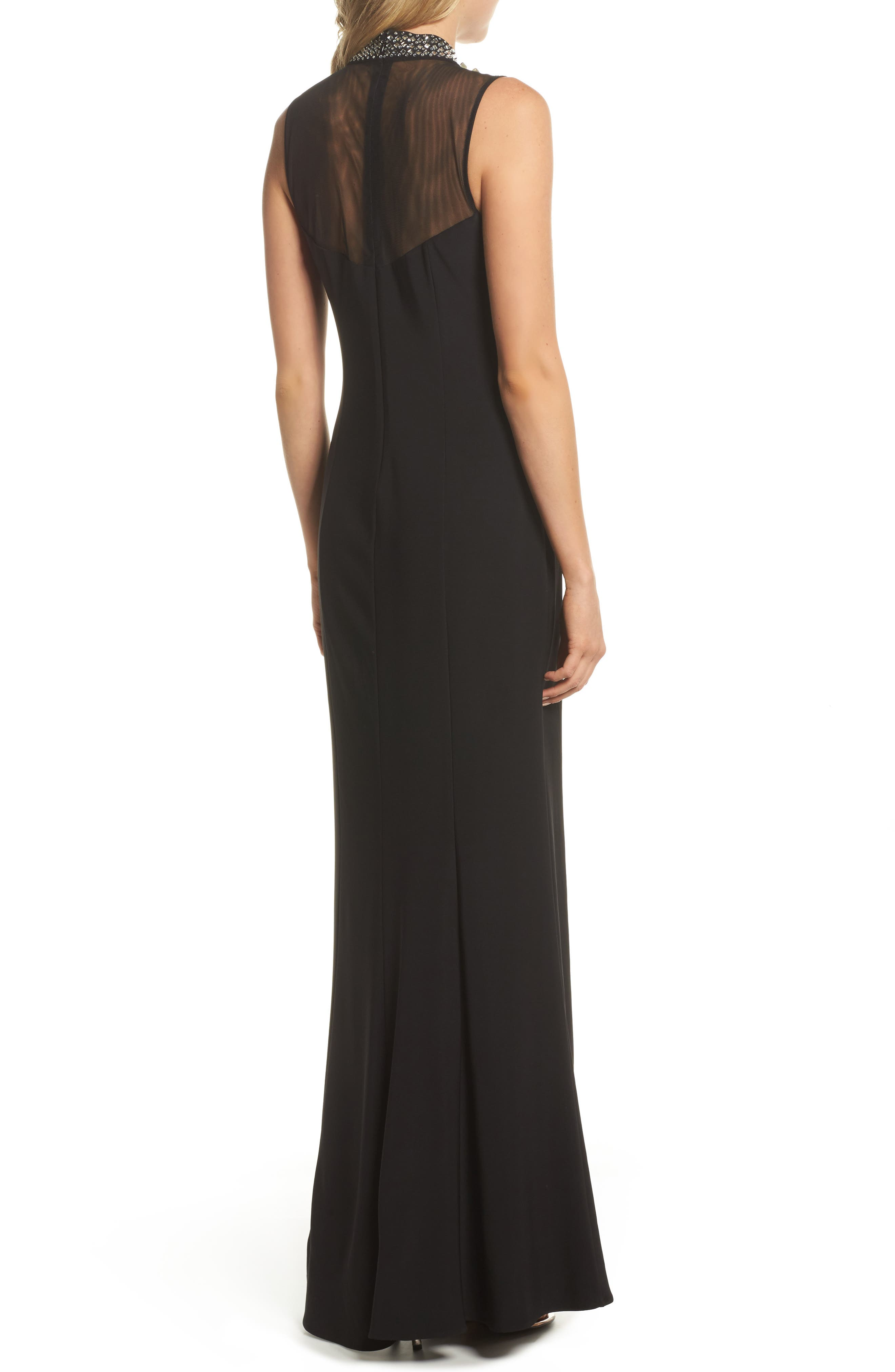 Beaded Illusion Mock Neck Gown,                             Alternate thumbnail 2, color,                             001