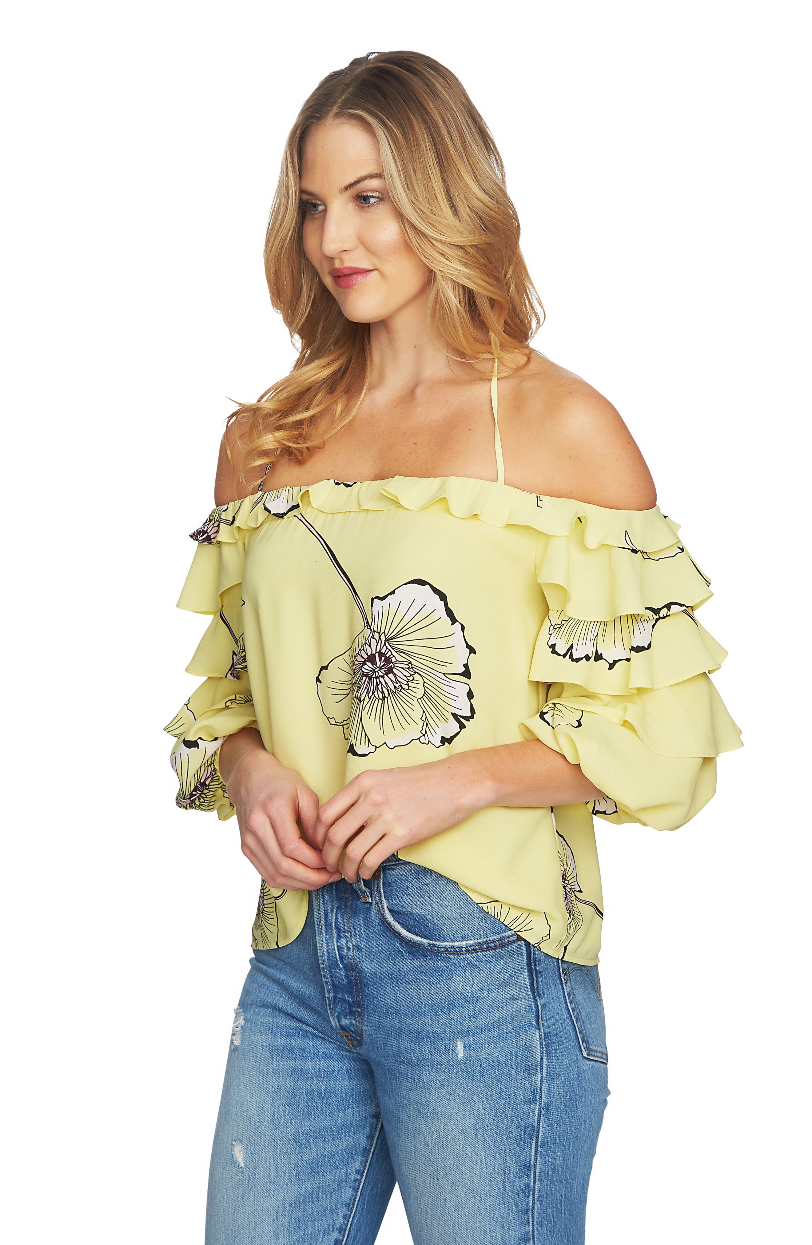 Tiered Sleeve Off the Shoulder Top,                             Alternate thumbnail 6, color,