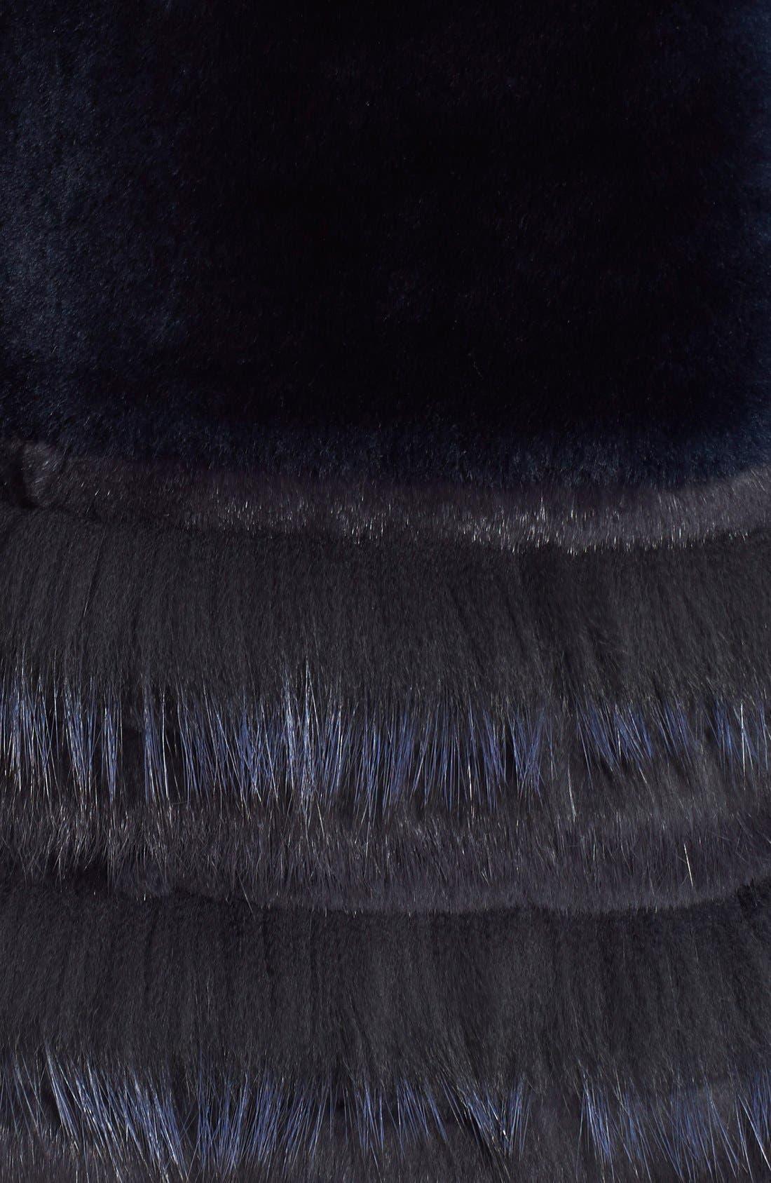 Stripe Reversible Genuine Fur Jacket,                             Alternate thumbnail 3, color,                             417