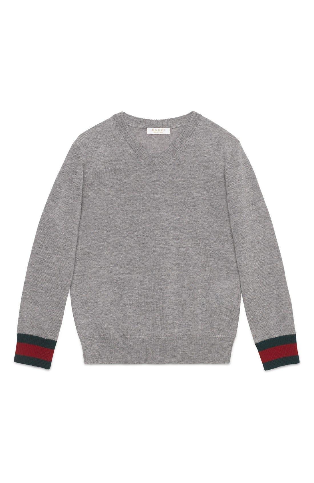 Stripe Cuff V-Neck Merino Wool Sweater,                             Main thumbnail 1, color,                             GREY MULTI