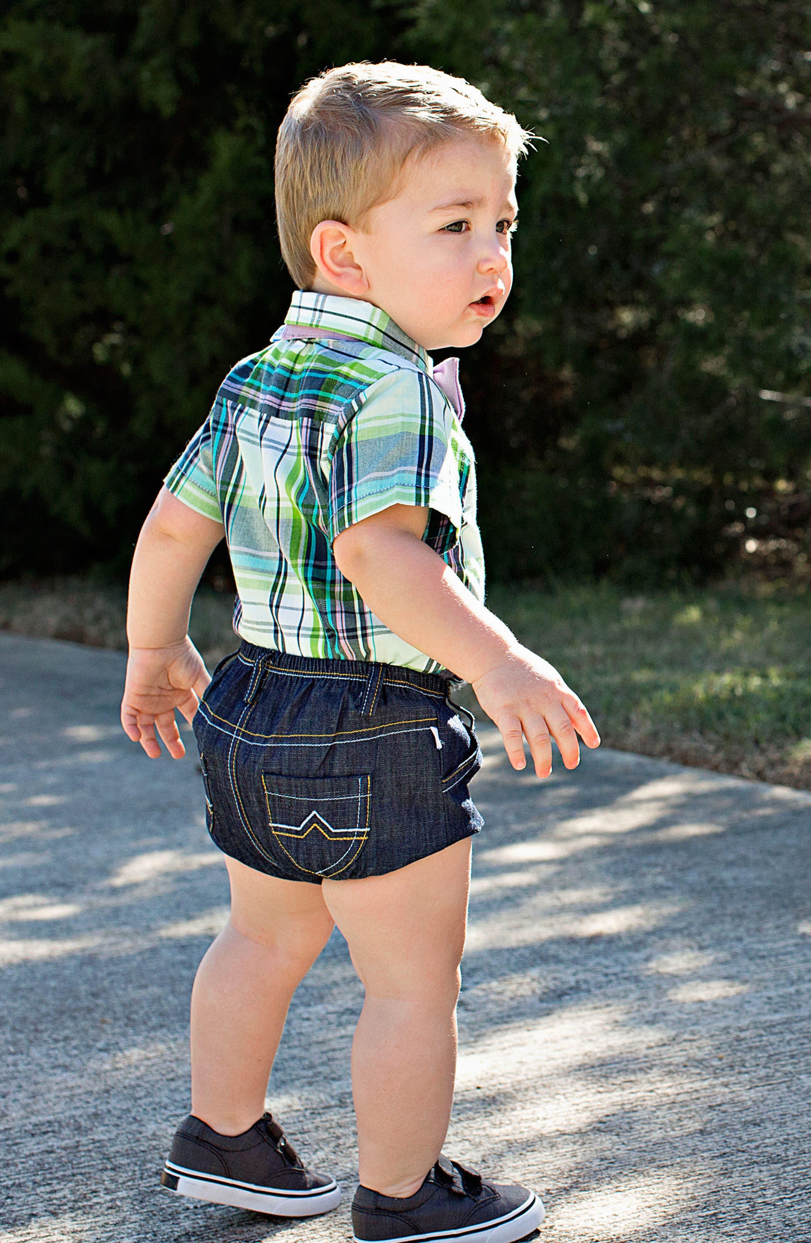 Christopher Plaid Bodysuit, Shorts & Bow Tie Set,                             Alternate thumbnail 4, color,                             110