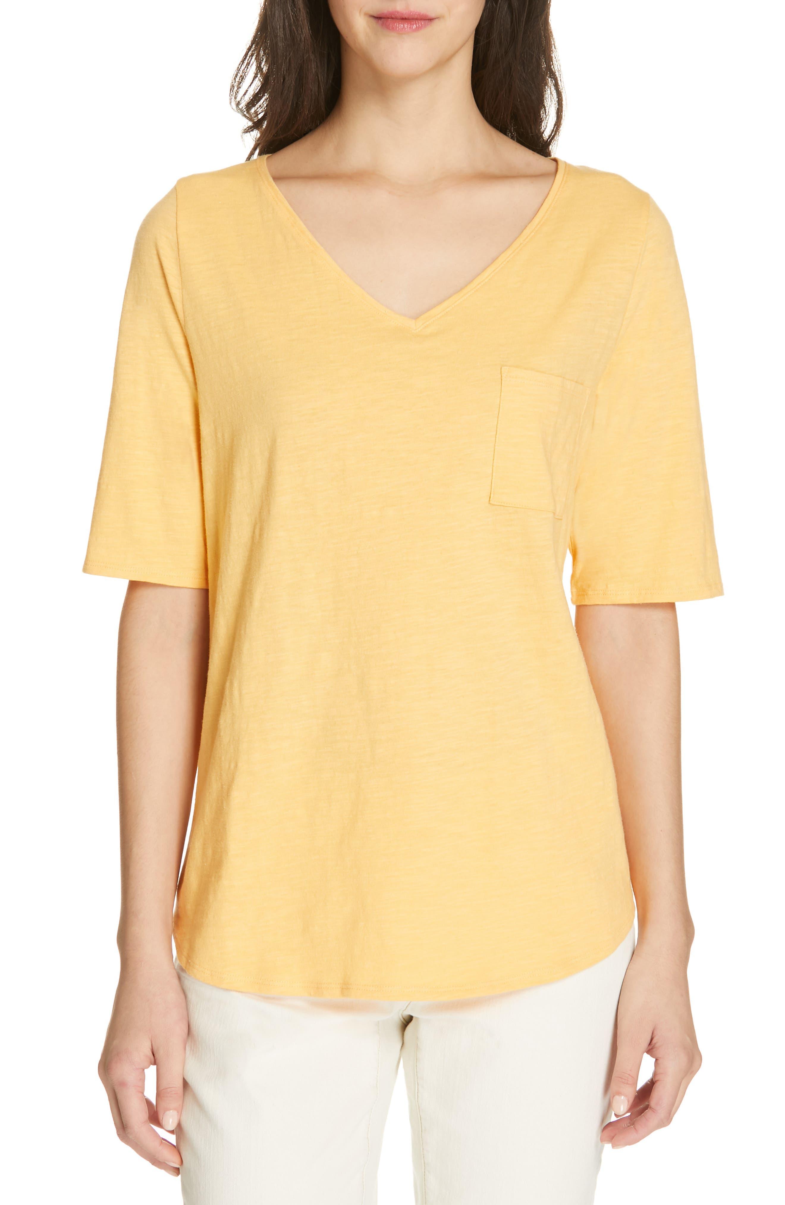 Eileen Fisher V-Neck Organic Cotton Tee, Orange