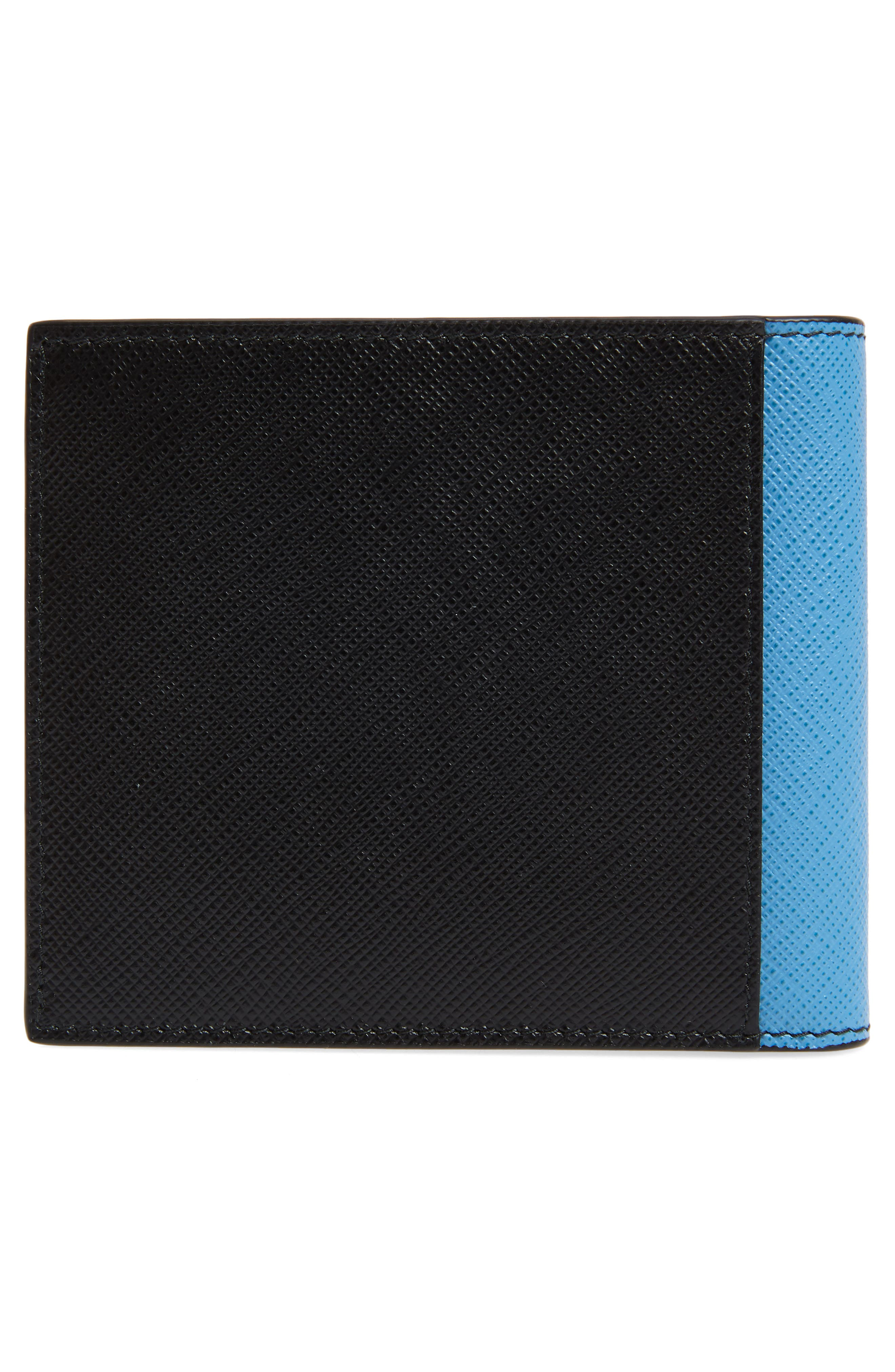 Saffiano Leather Patch Bifold Wallet,                             Alternate thumbnail 3, color,                             BLACK
