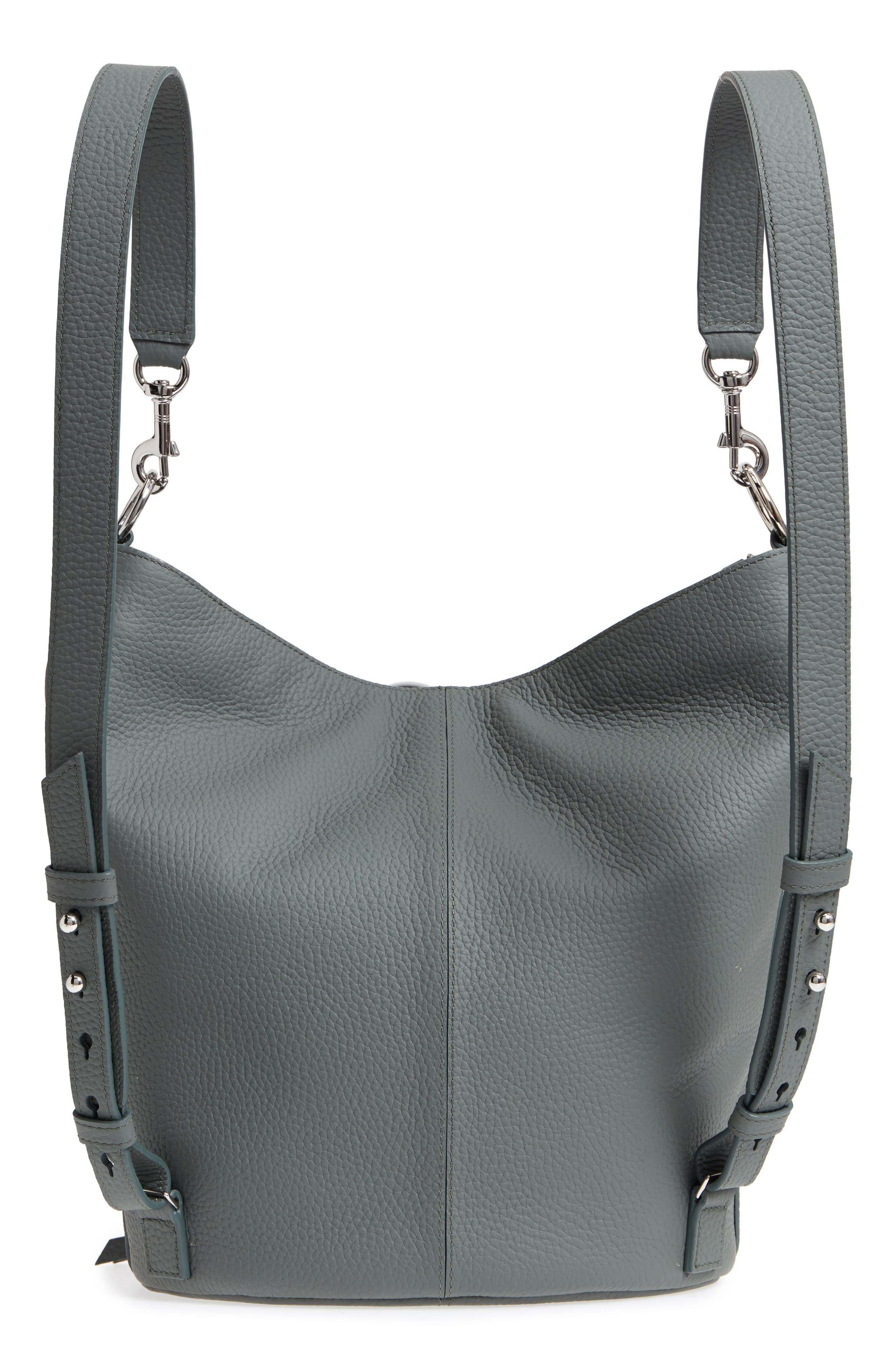 Small Fetch Leather Backpack,                             Alternate thumbnail 4, color,                             LIGHT SLATE BLUE