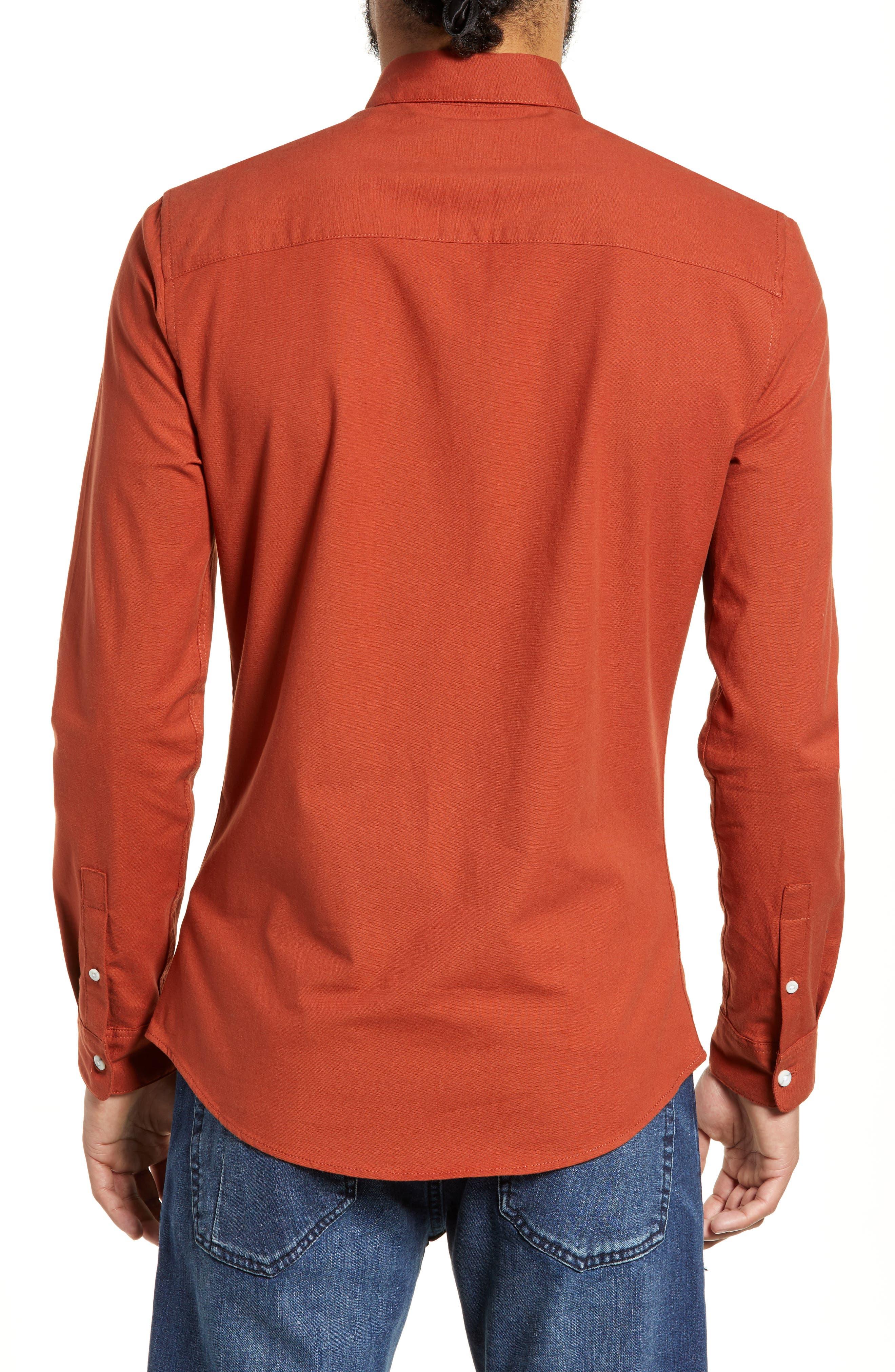 TOPMAN,                             Classic Fit Oxford Shirt,                             Alternate thumbnail 3, color,                             BROWN