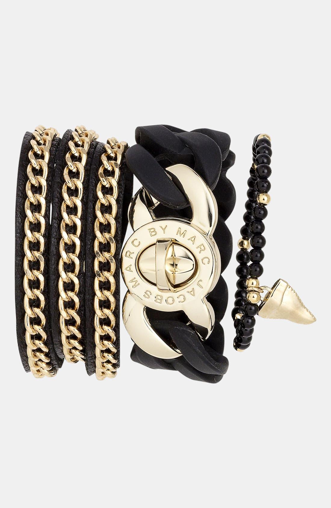 Leather Wrap Bracelet,                             Alternate thumbnail 3, color,                             001