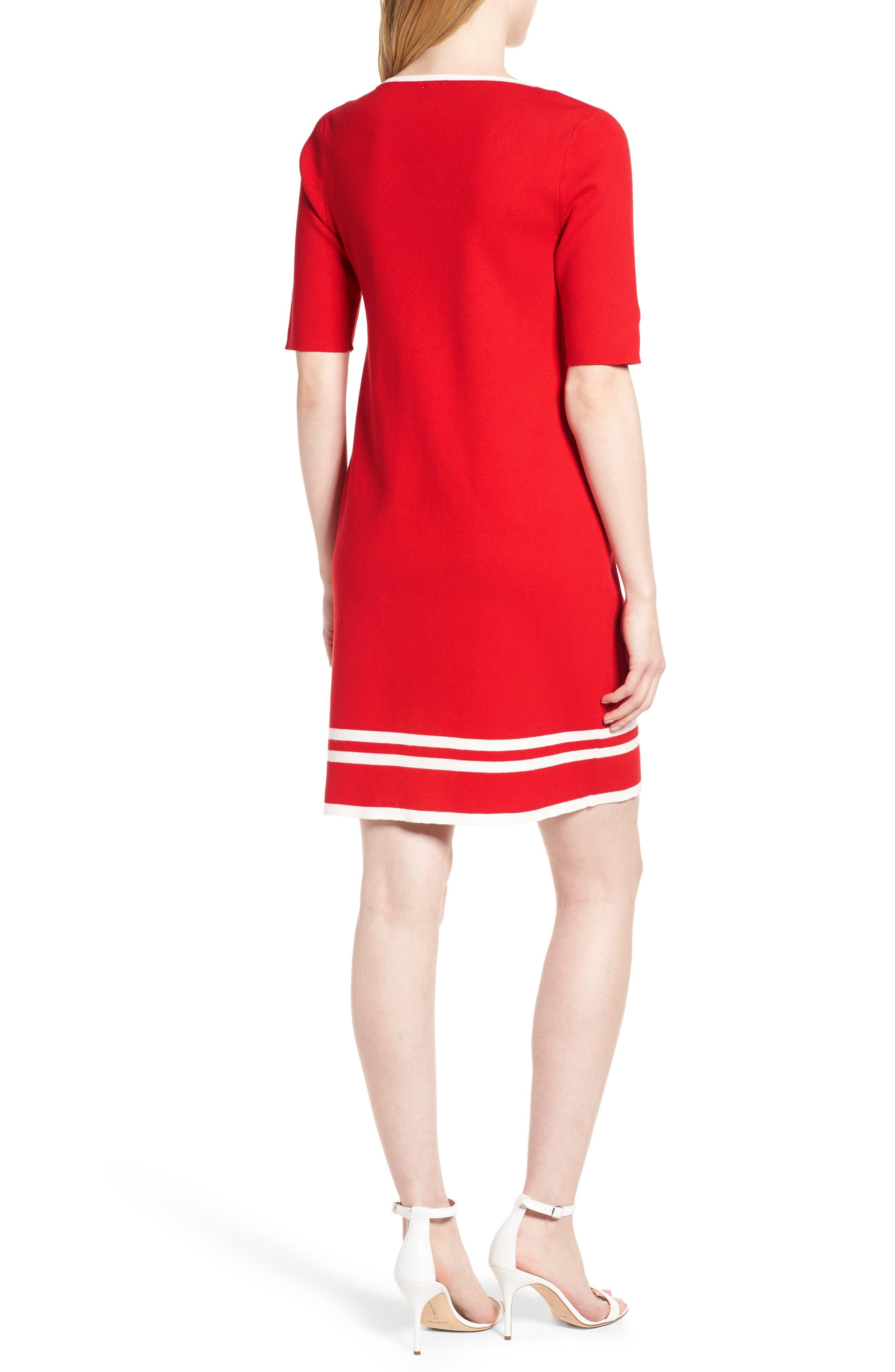Ann Klein New York Stripe Border Knit Sheath Dress,                             Alternate thumbnail 4, color,