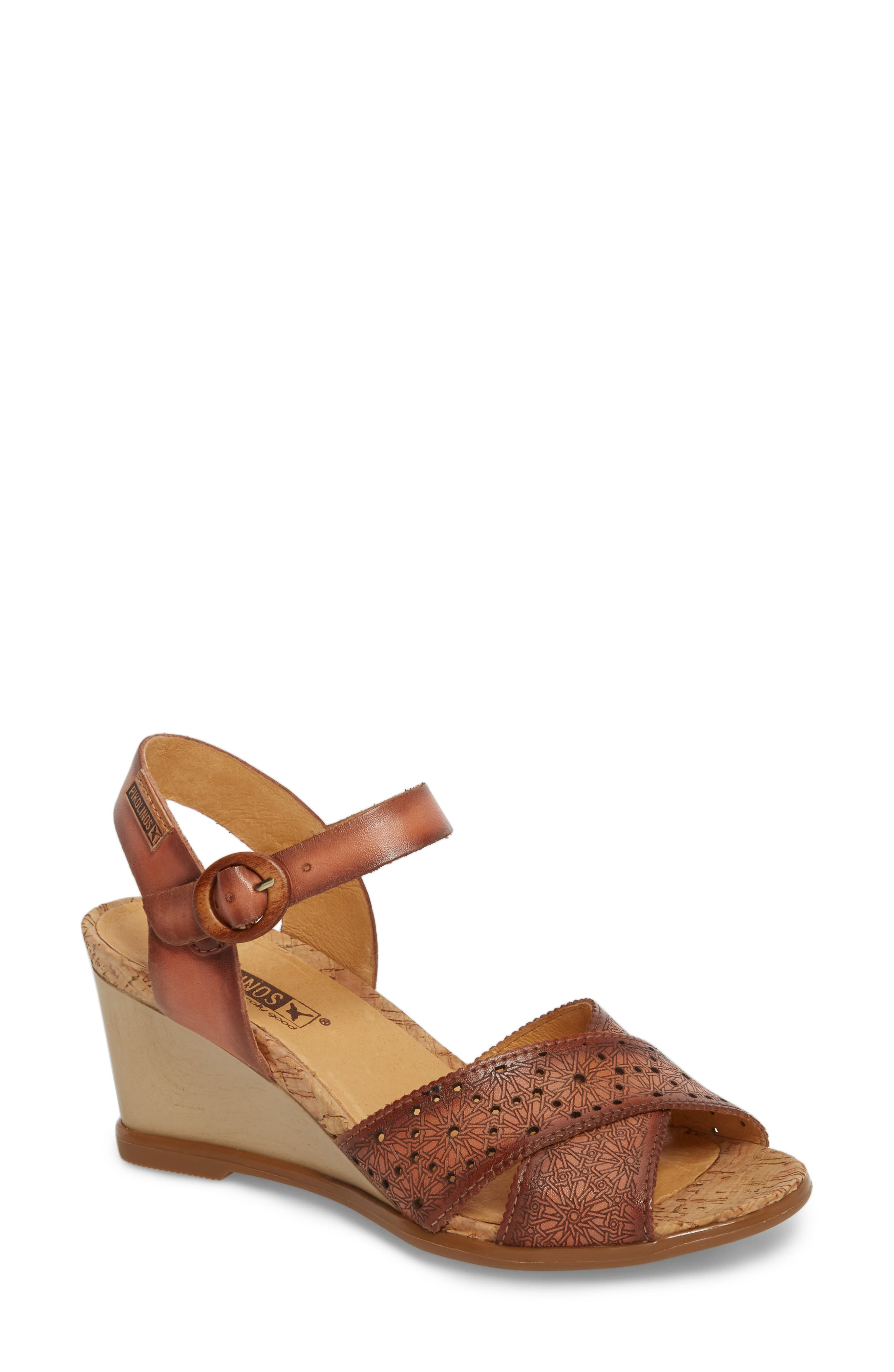 Vigo Wedge Sandal,                             Main thumbnail 1, color,                             FLAMINGO LEATHER