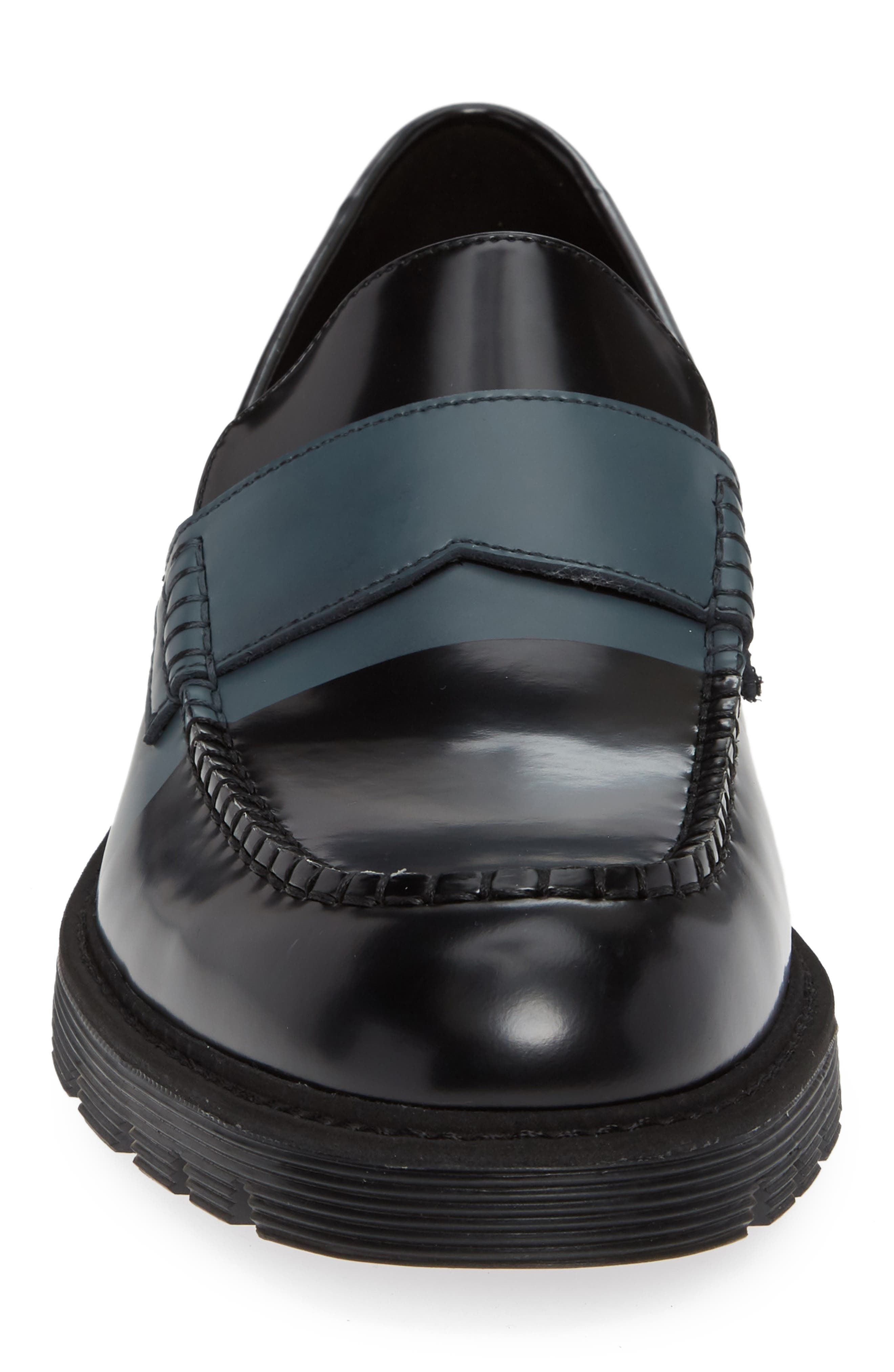 Florentino Penny Loafer,                             Alternate thumbnail 4, color,                             BLACK LEATHER