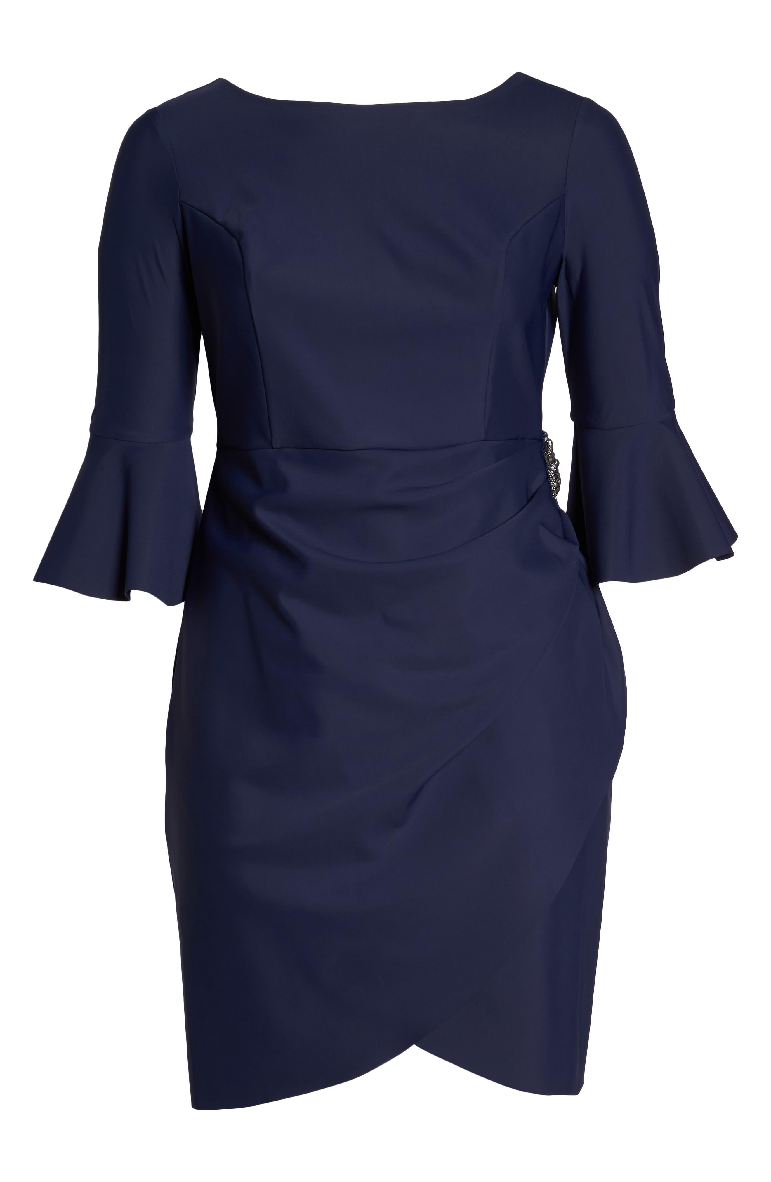 Bell Sleeve Sheath Dress,                             Alternate thumbnail 7, color,                             NAVY