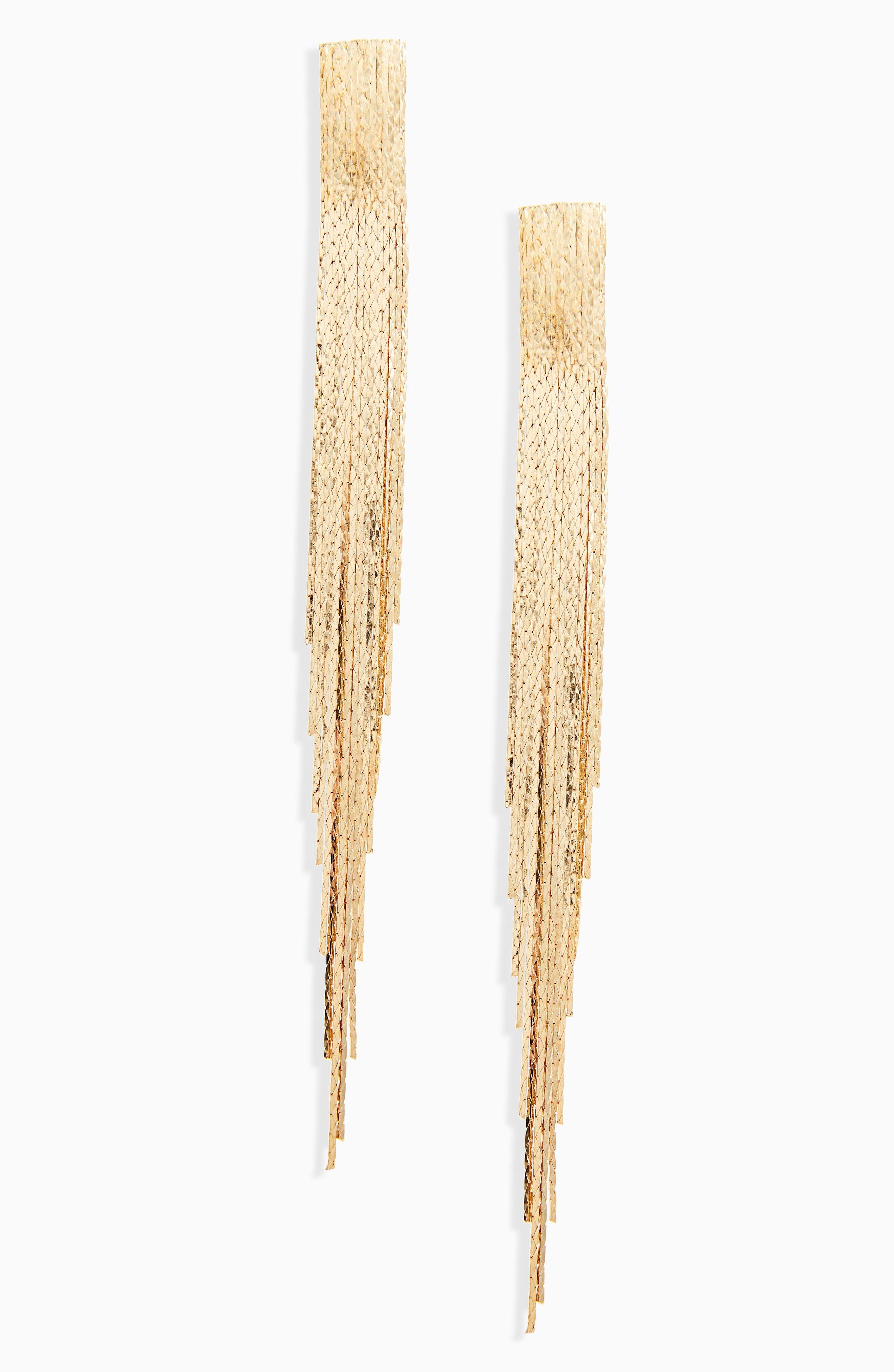 Metal Fringe Earrings,                             Main thumbnail 1, color,                             710