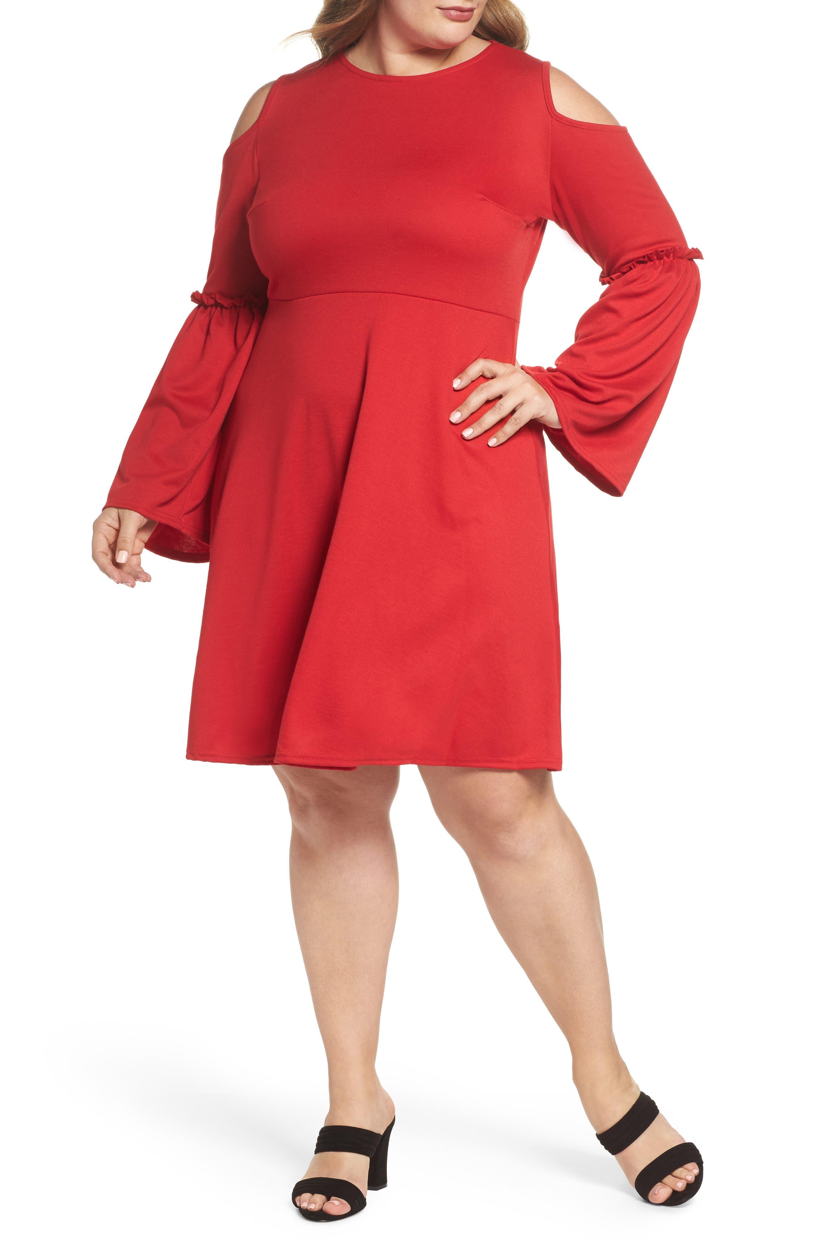 Frill Sleeve Cold Shoulder Skater Dress,                         Main,                         color,