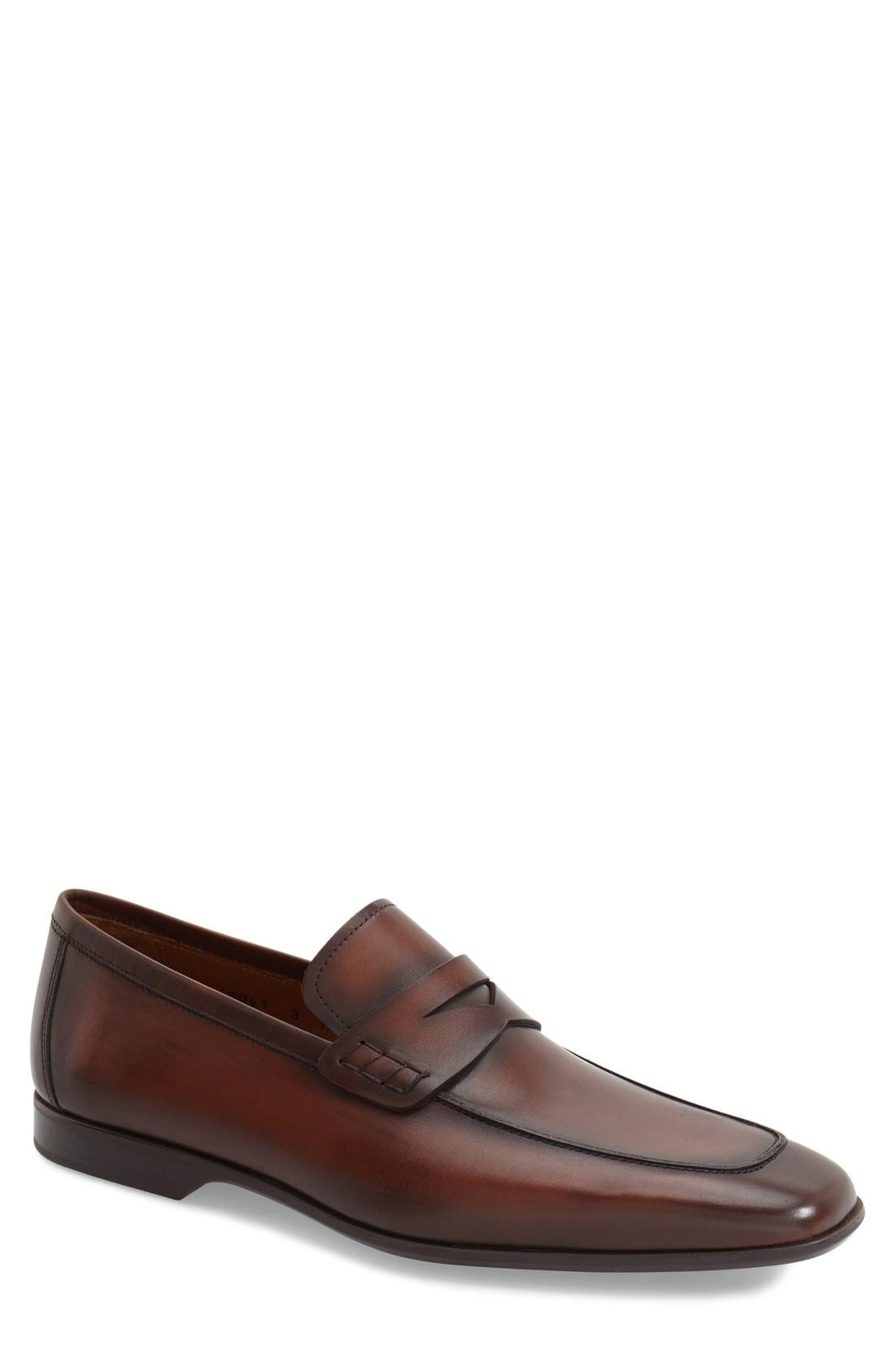 'Ramiro II' Penny Loafer,                             Main thumbnail 1, color,                             MID BROWN LEATHER