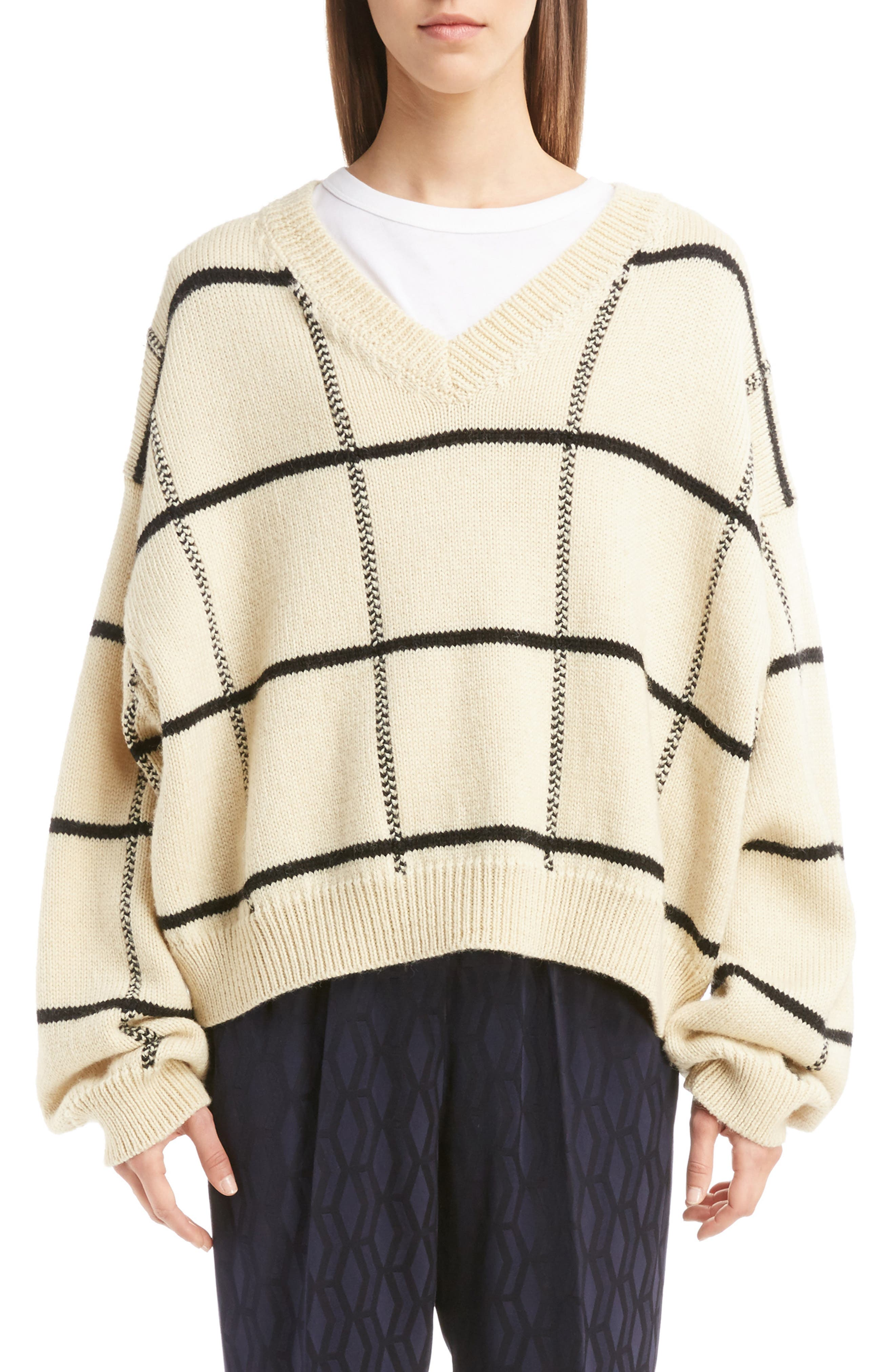 Windowpane Knit Wool Sweater,                             Main thumbnail 2, color,