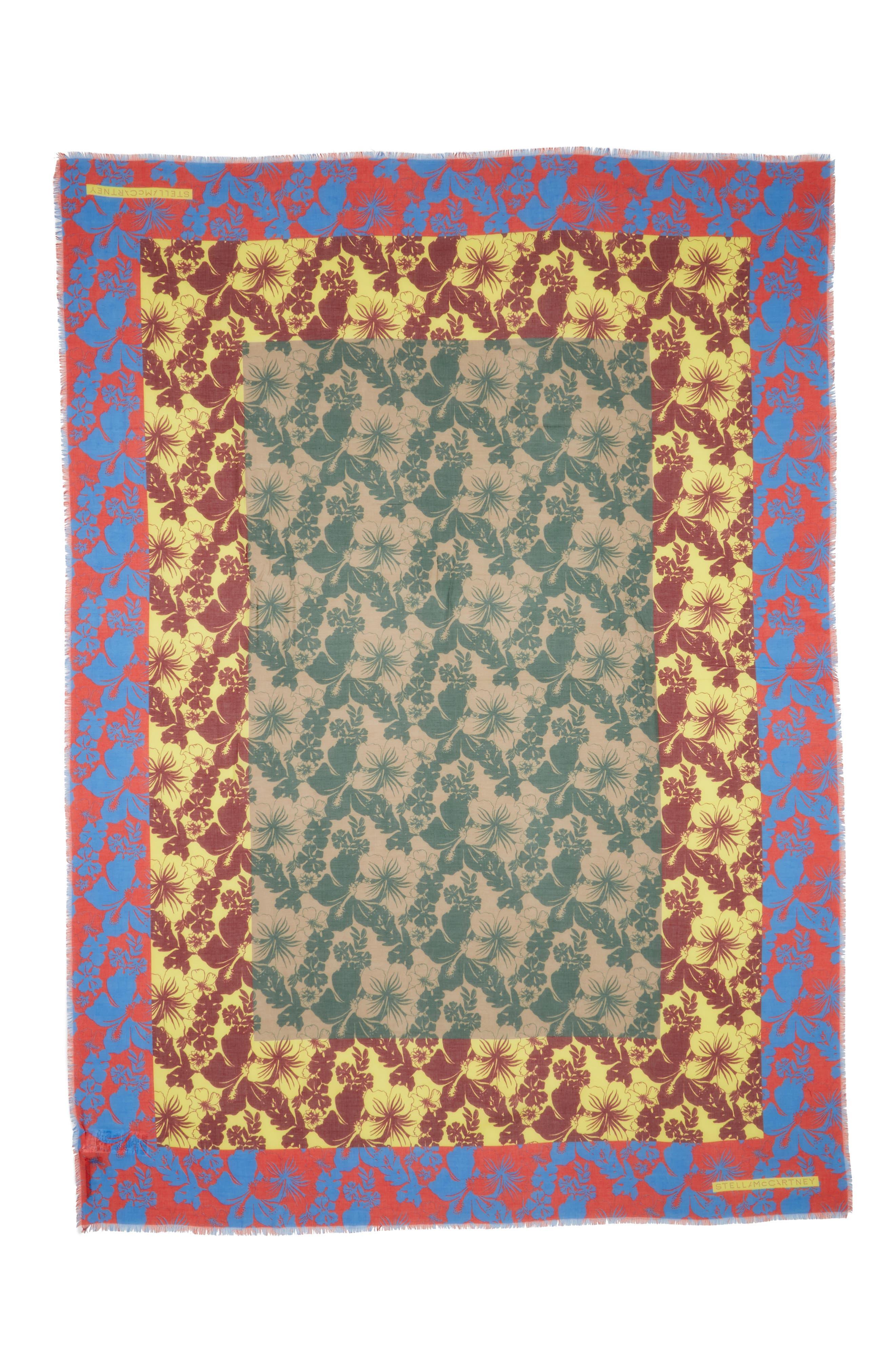 Tropical Floral Print Silk & Modal Scarf,                         Main,                         color, 600