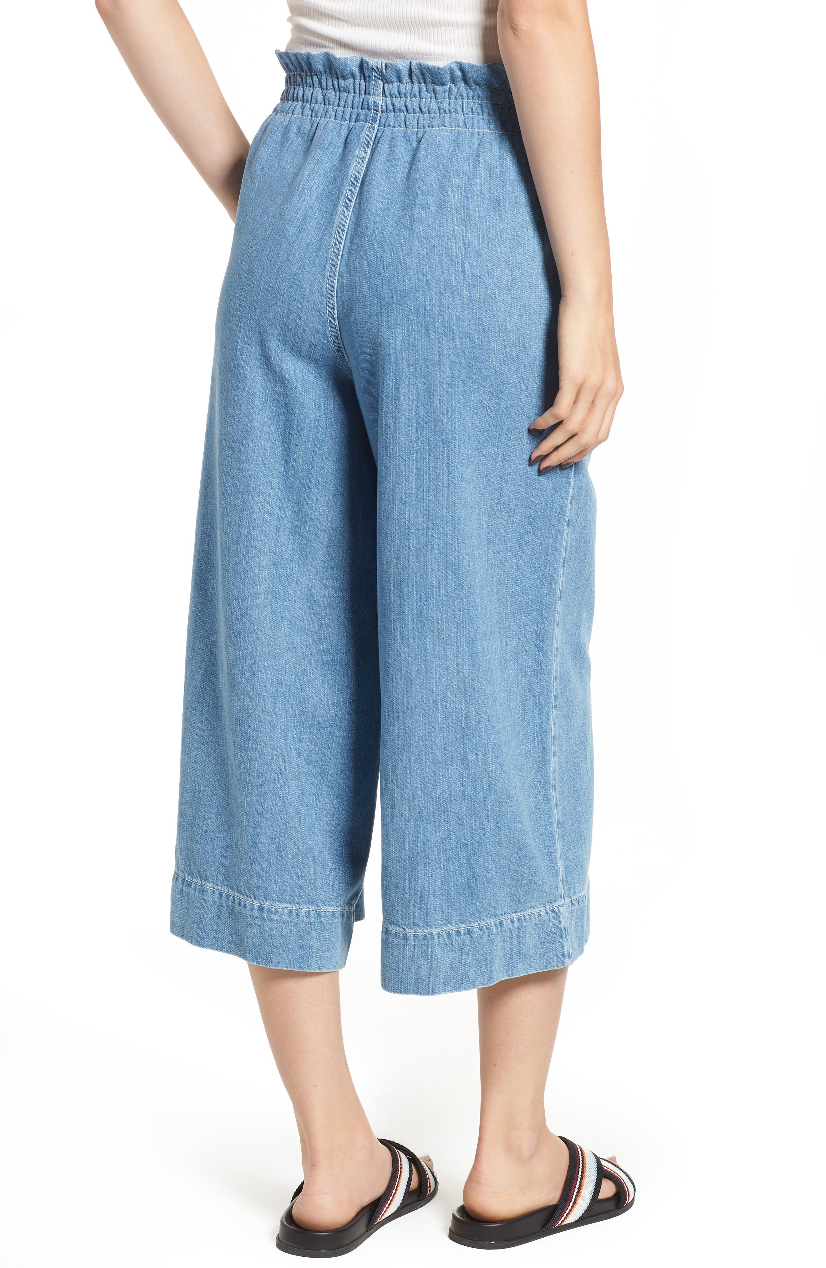 Wide Leg Crop Jeans,                             Alternate thumbnail 2, color,                             LIGHT DENIM