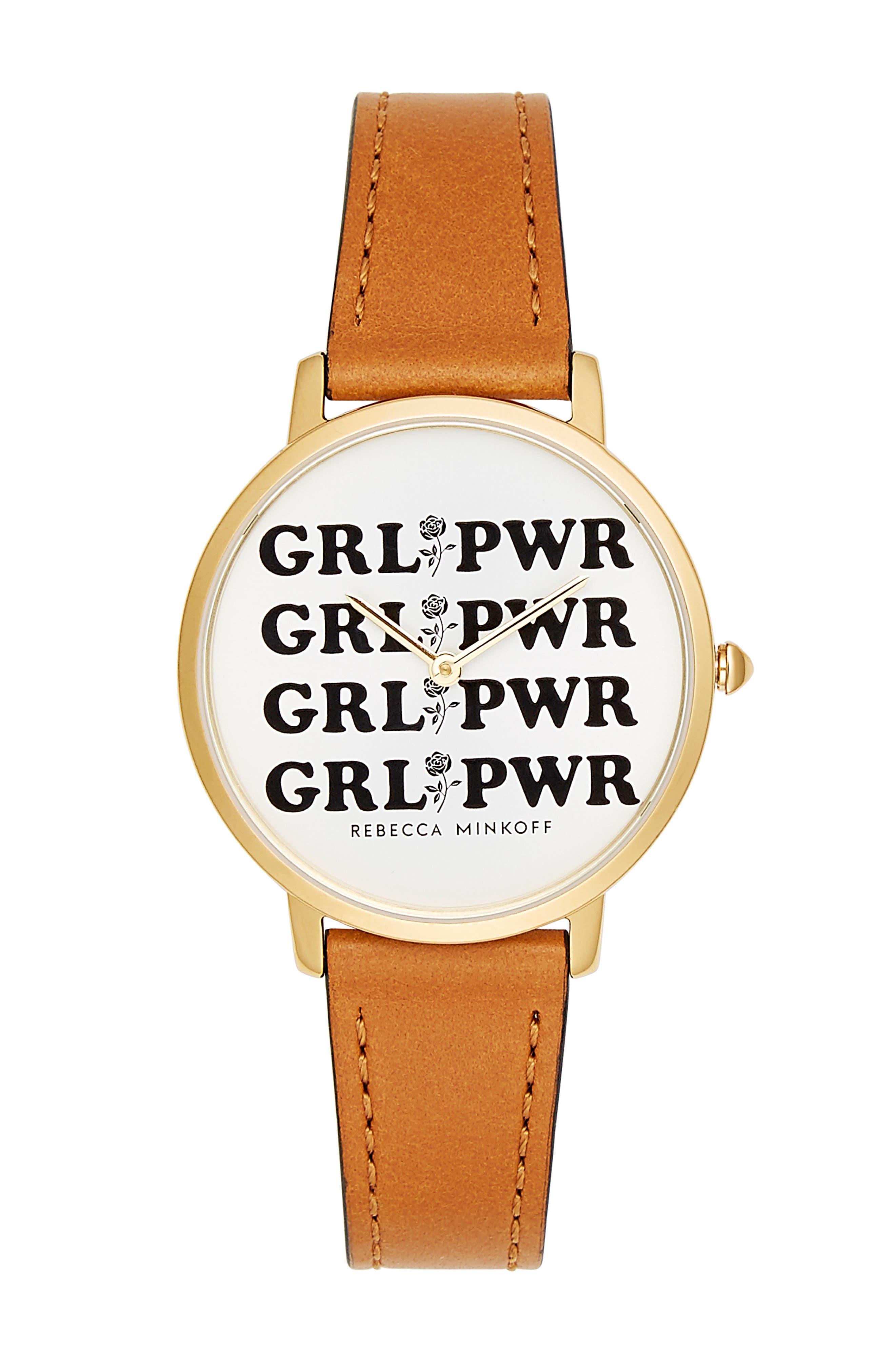 REBECCA MINKOFF,                             Rebeca Minkoff Major GRL PWR Leather Strap Watch, 35mm,                             Main thumbnail 1, color,                             200