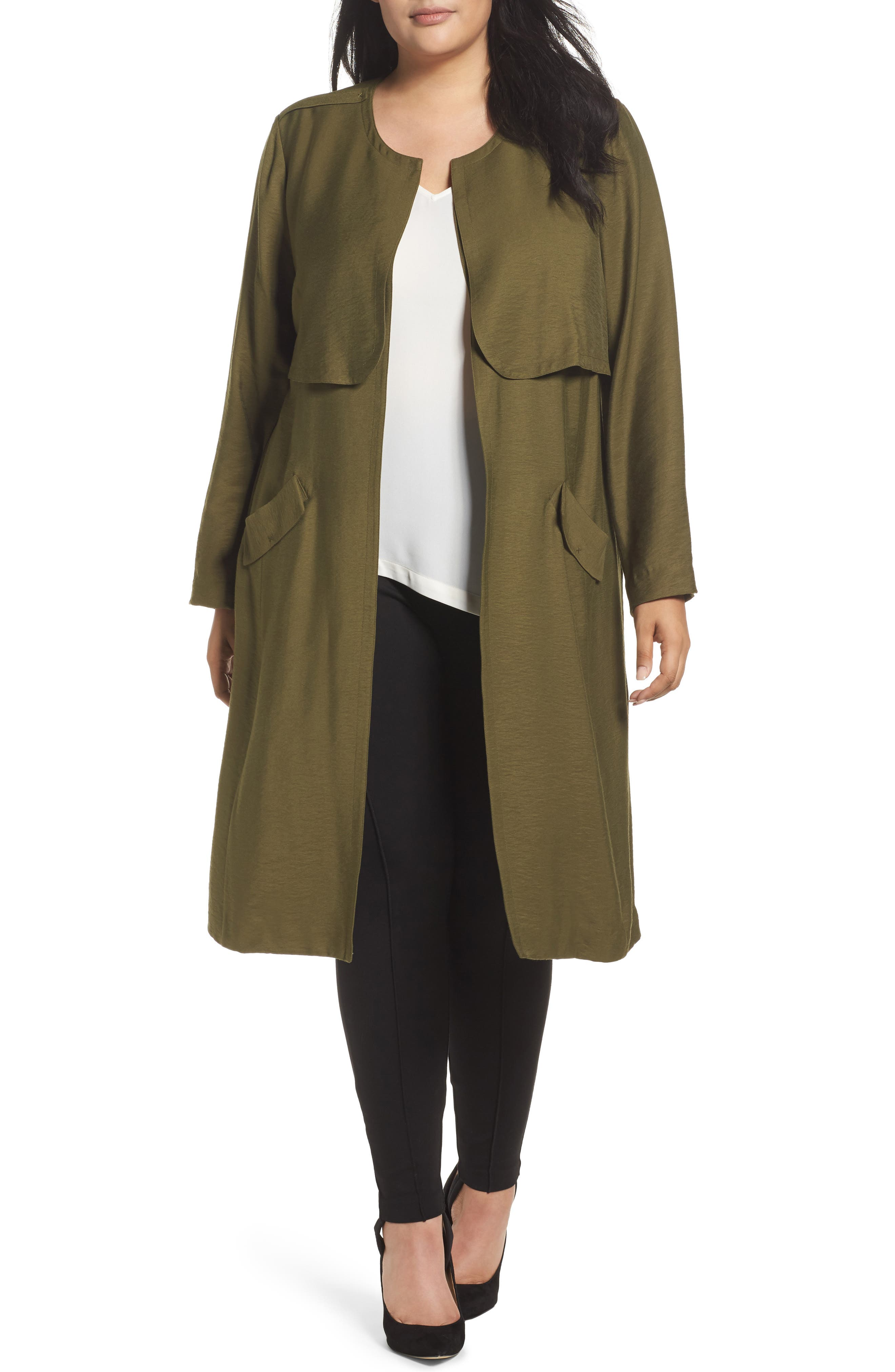 Long Open Front Trench Coat,                             Main thumbnail 3, color,
