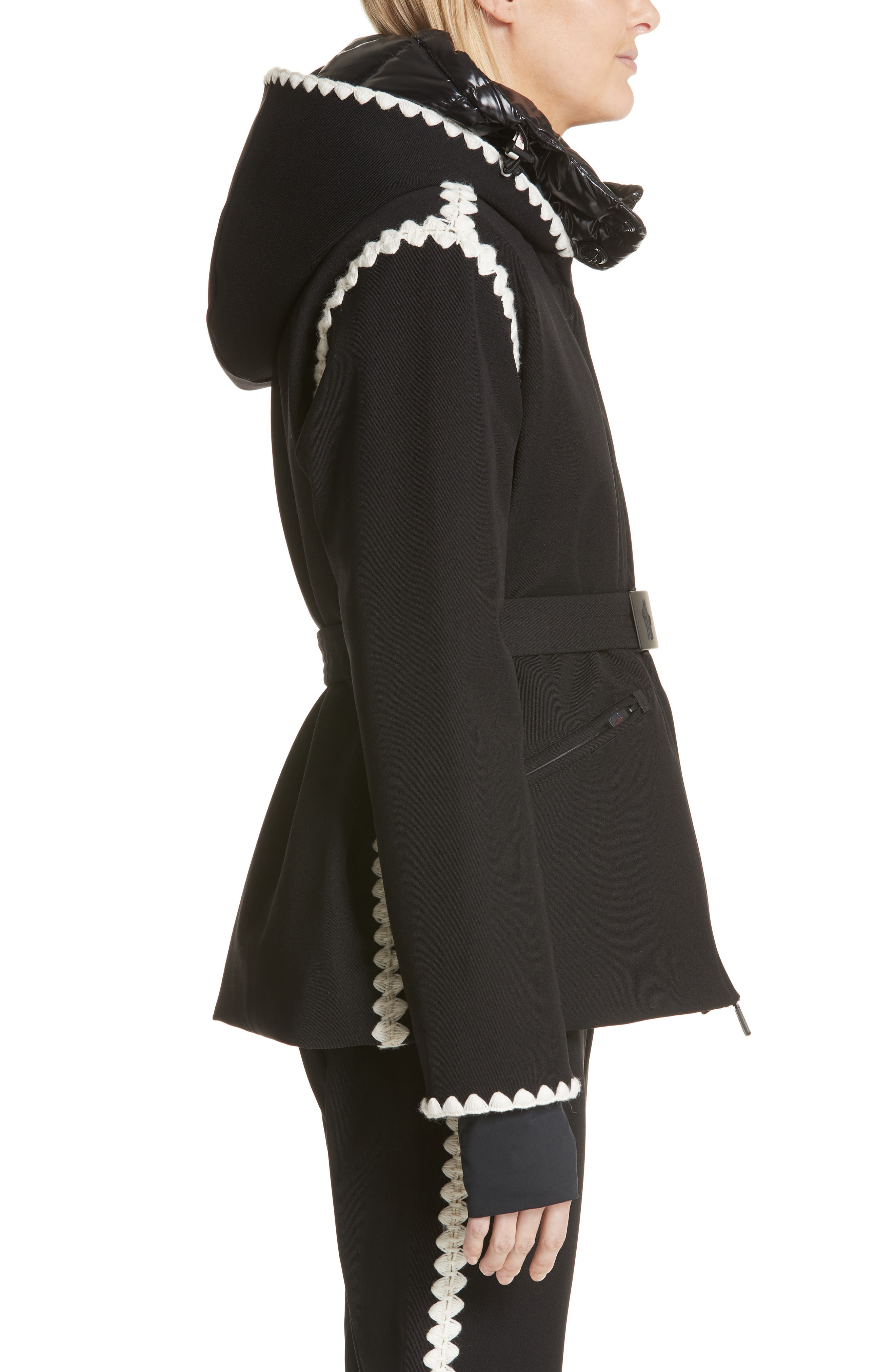Bourget Embroidered Hooded Down Coat,                             Alternate thumbnail 3, color,                             BLACK