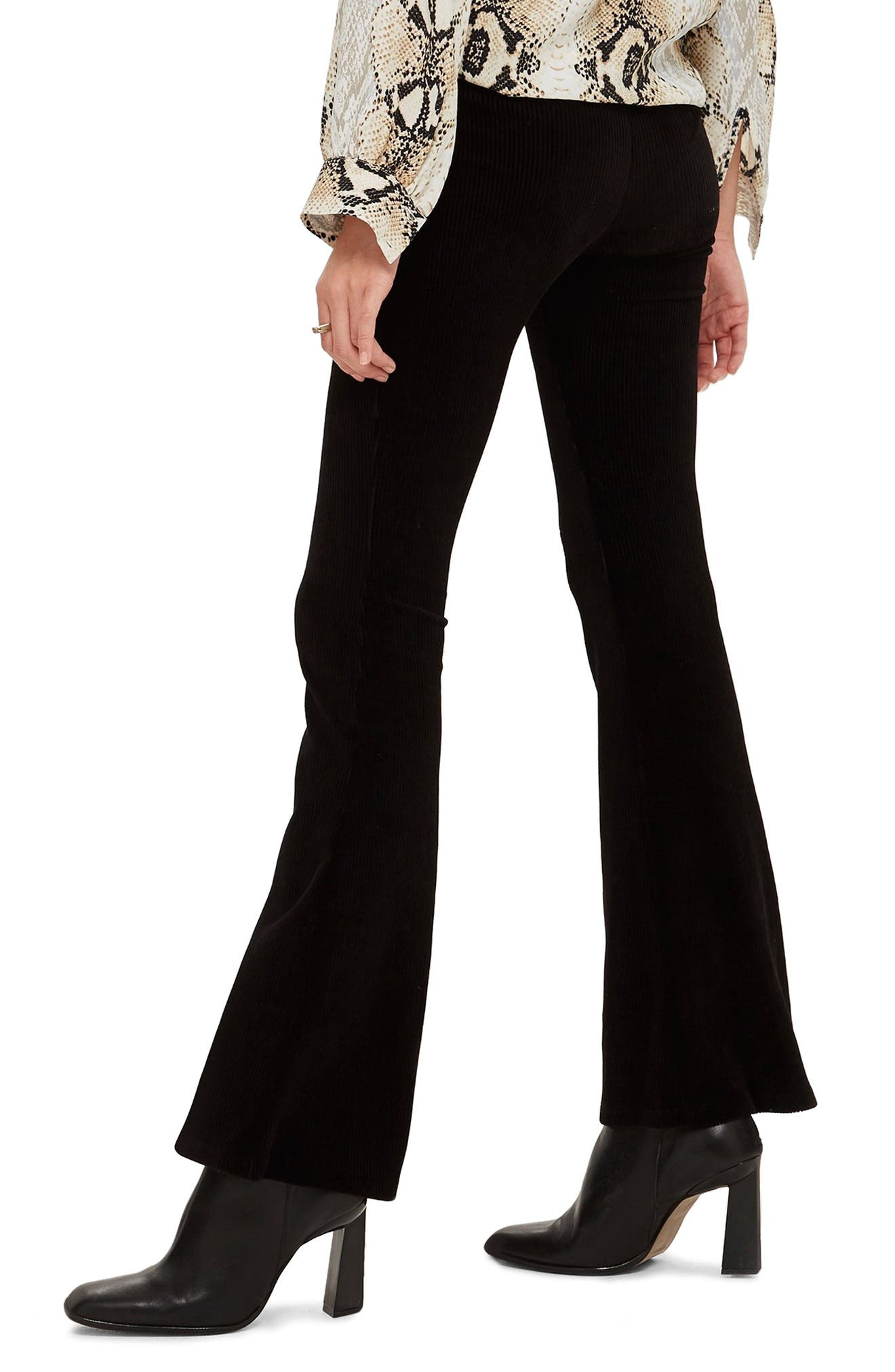 Zip Flare Corduroy Pants,                             Alternate thumbnail 2, color,                             BLACK