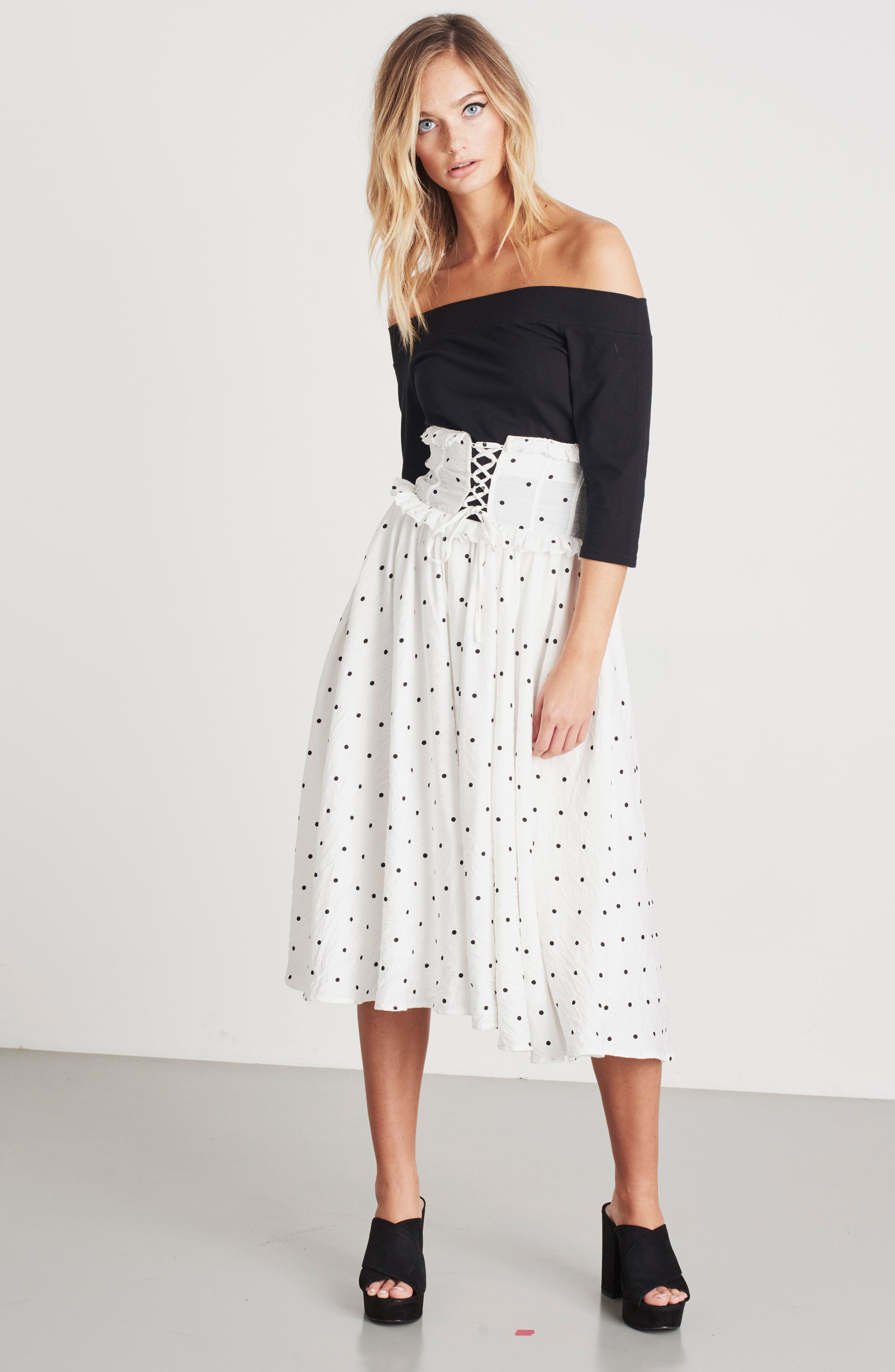 Lace-Up A-Line Skirt,                             Alternate thumbnail 7, color,                             100