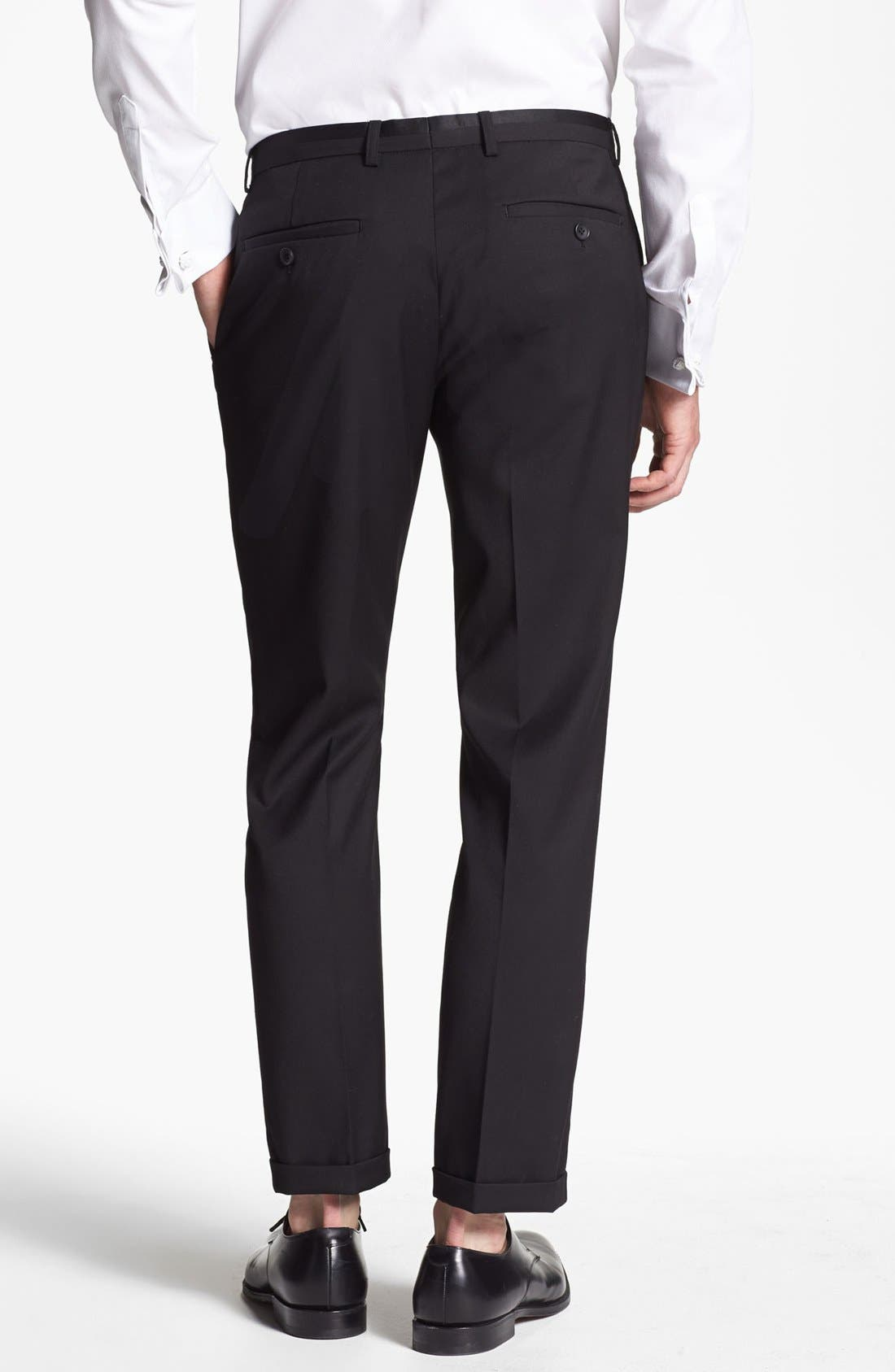 TOPMAN,                             Skinny Fit Tuxedo Trousers,                             Alternate thumbnail 2, color,                             001