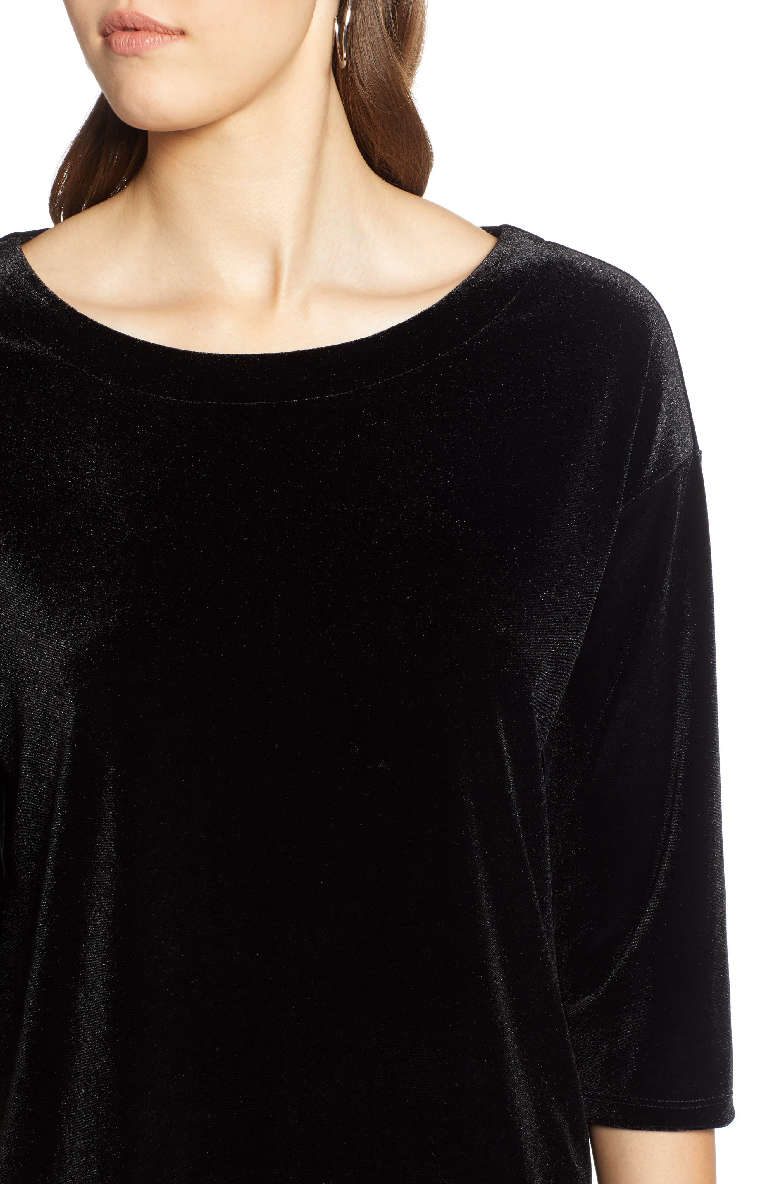 Asymmetrical Velvet Tunic,                             Alternate thumbnail 4, color,                             BLACK