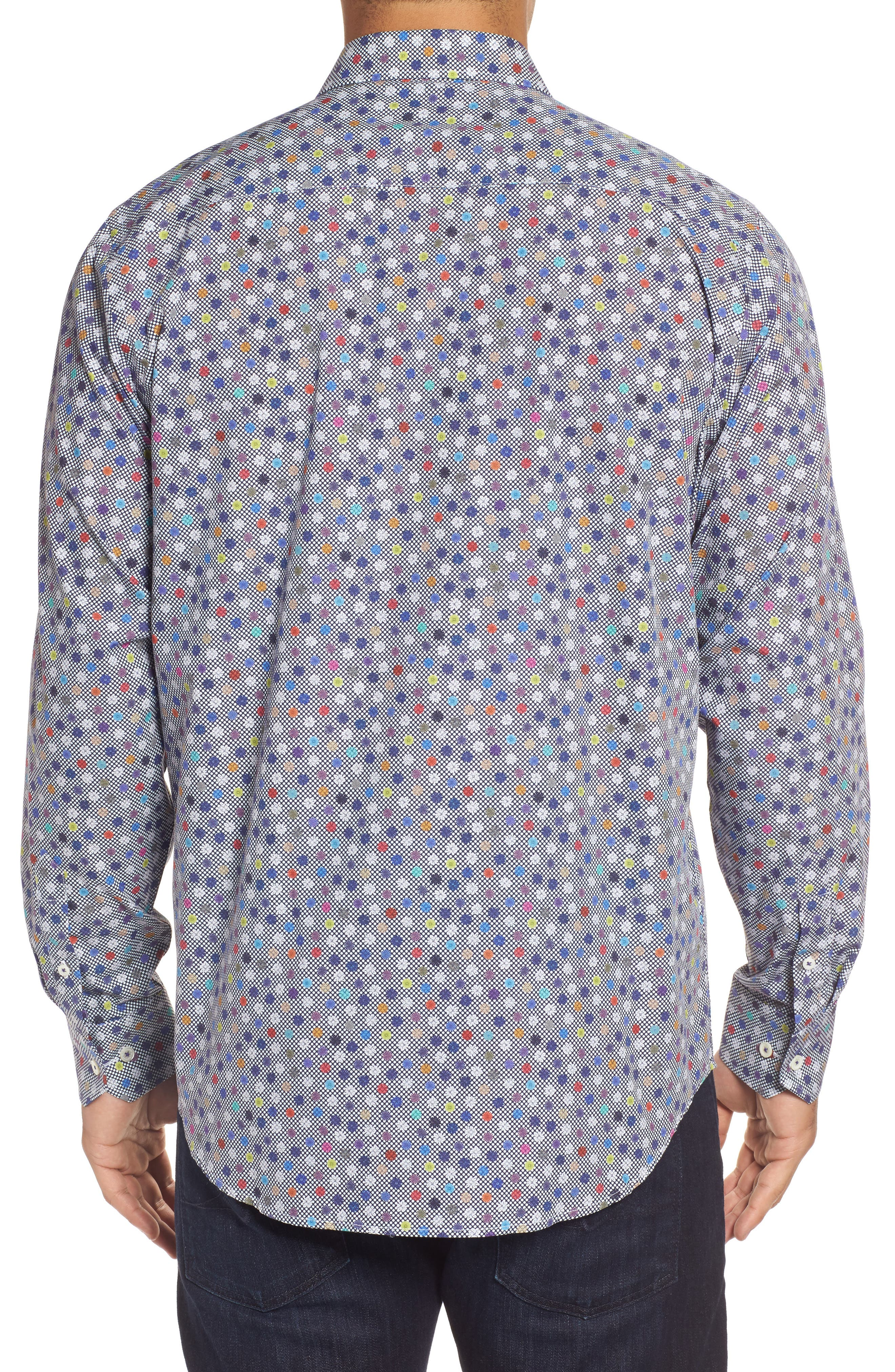 Classic Fit Flower Print Sport Shirt,                             Alternate thumbnail 2, color,                             410