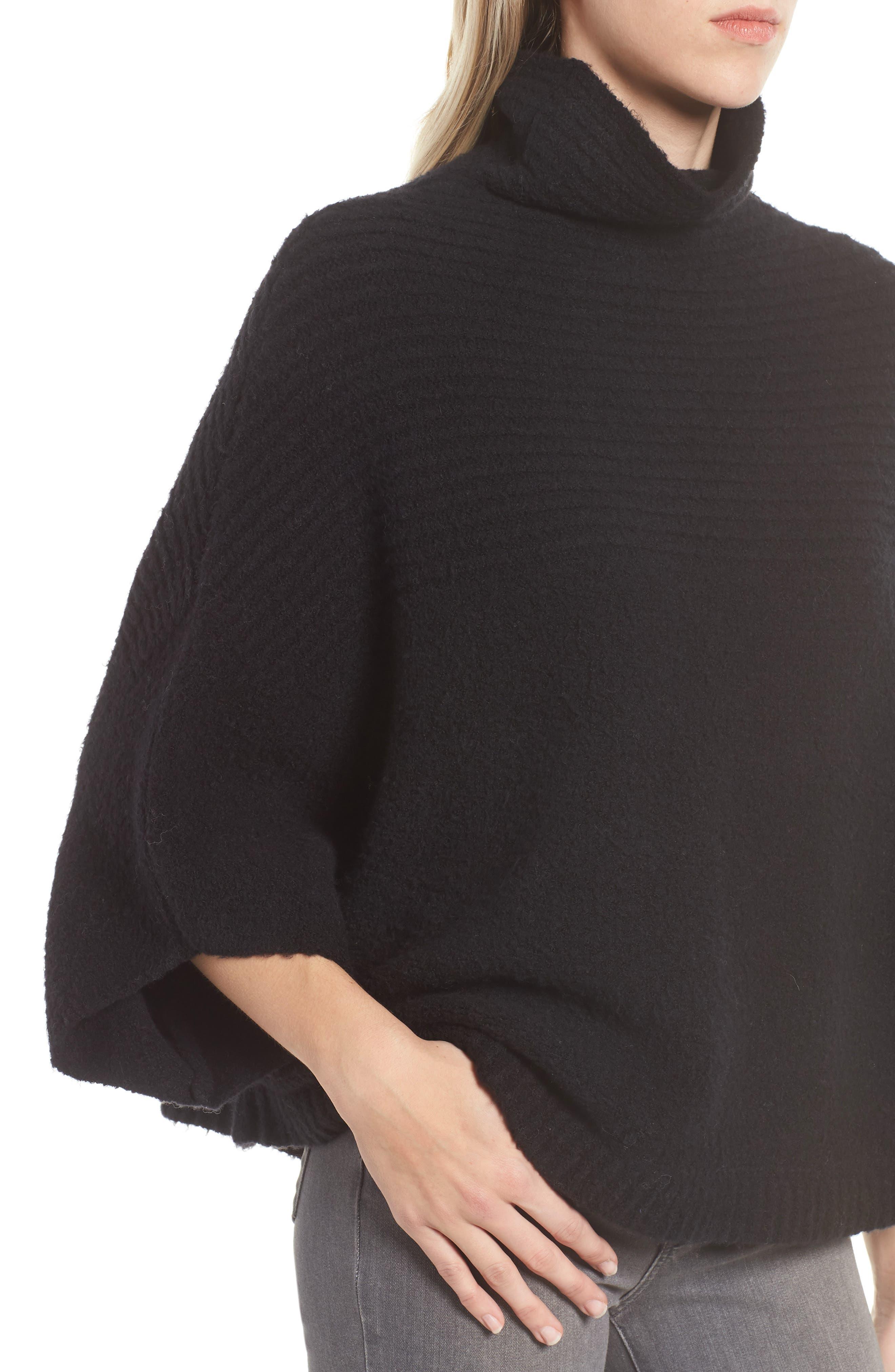 Rib Knit Turtleneck Poncho,                             Alternate thumbnail 4, color,                             BLACK