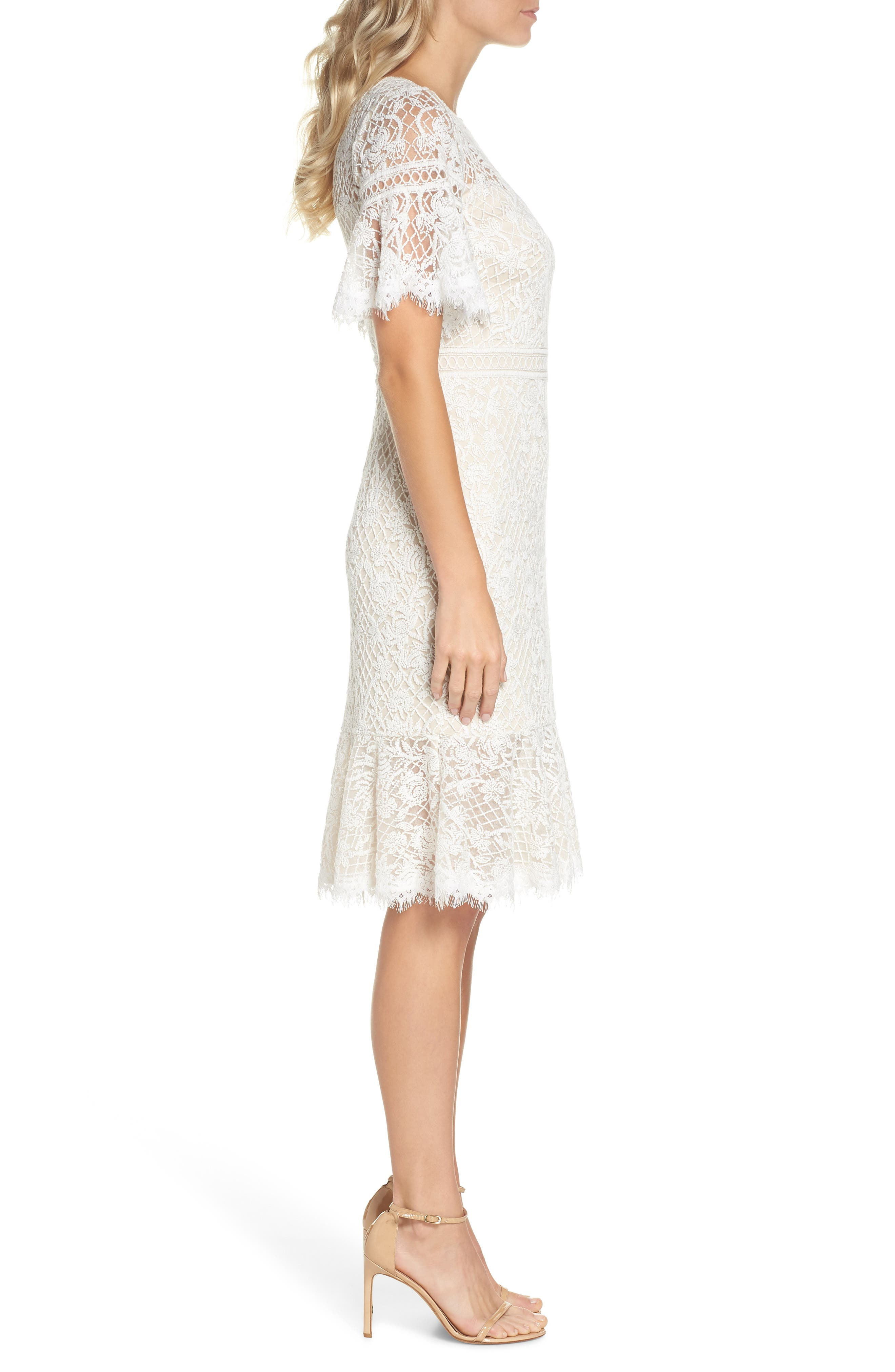 Embroidered Mesh Dress,                             Alternate thumbnail 3, color,                             IVORY/ NATURAL