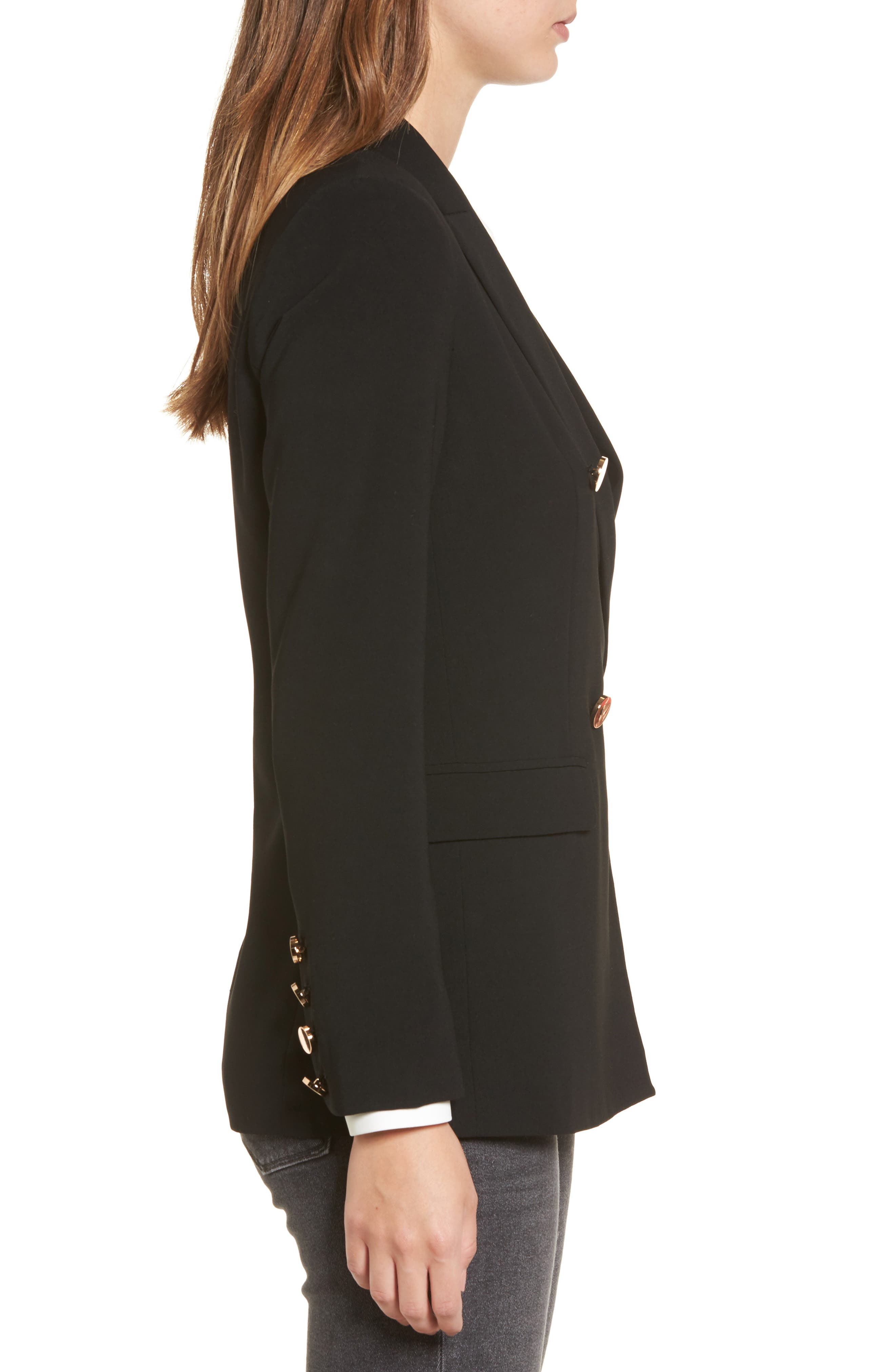 Oversize Double Breasted Blazer,                             Alternate thumbnail 3, color,                             001