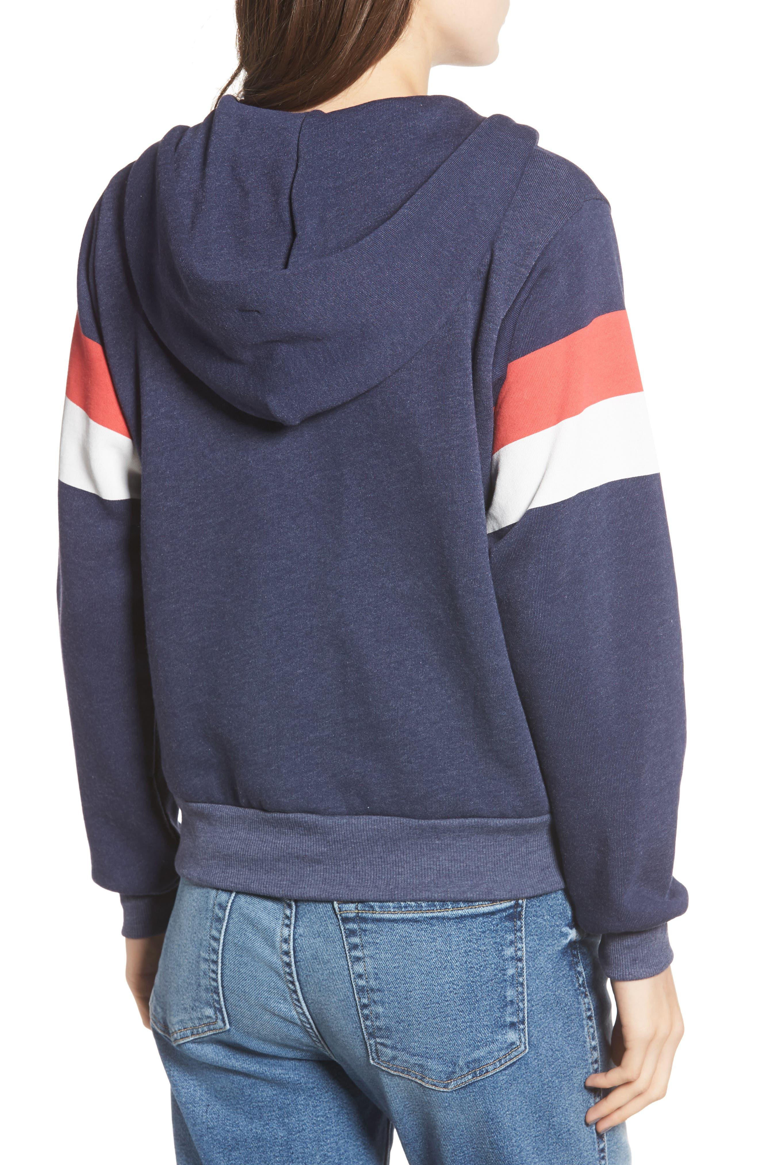 Regan Varsity Stripe Zip Hoodie,                             Alternate thumbnail 2, color,                             410