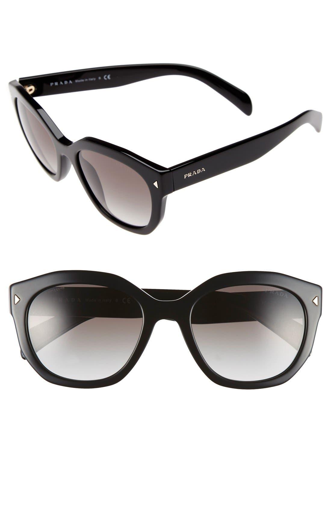 Contrast Temple 53mm Sunglasses,                             Main thumbnail 1, color,                             001
