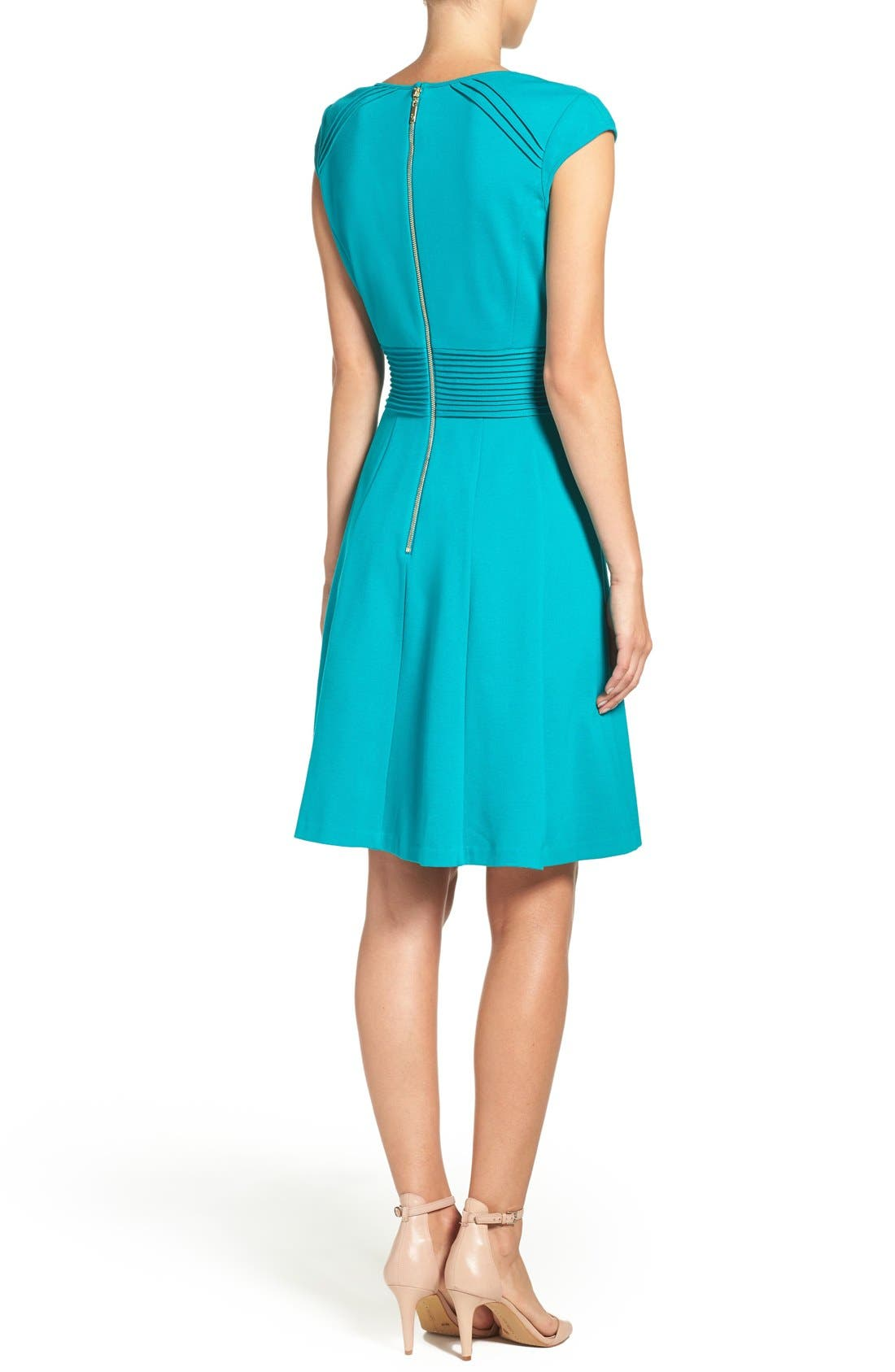 Ponte Fit & Flare Dress,                             Alternate thumbnail 14, color,