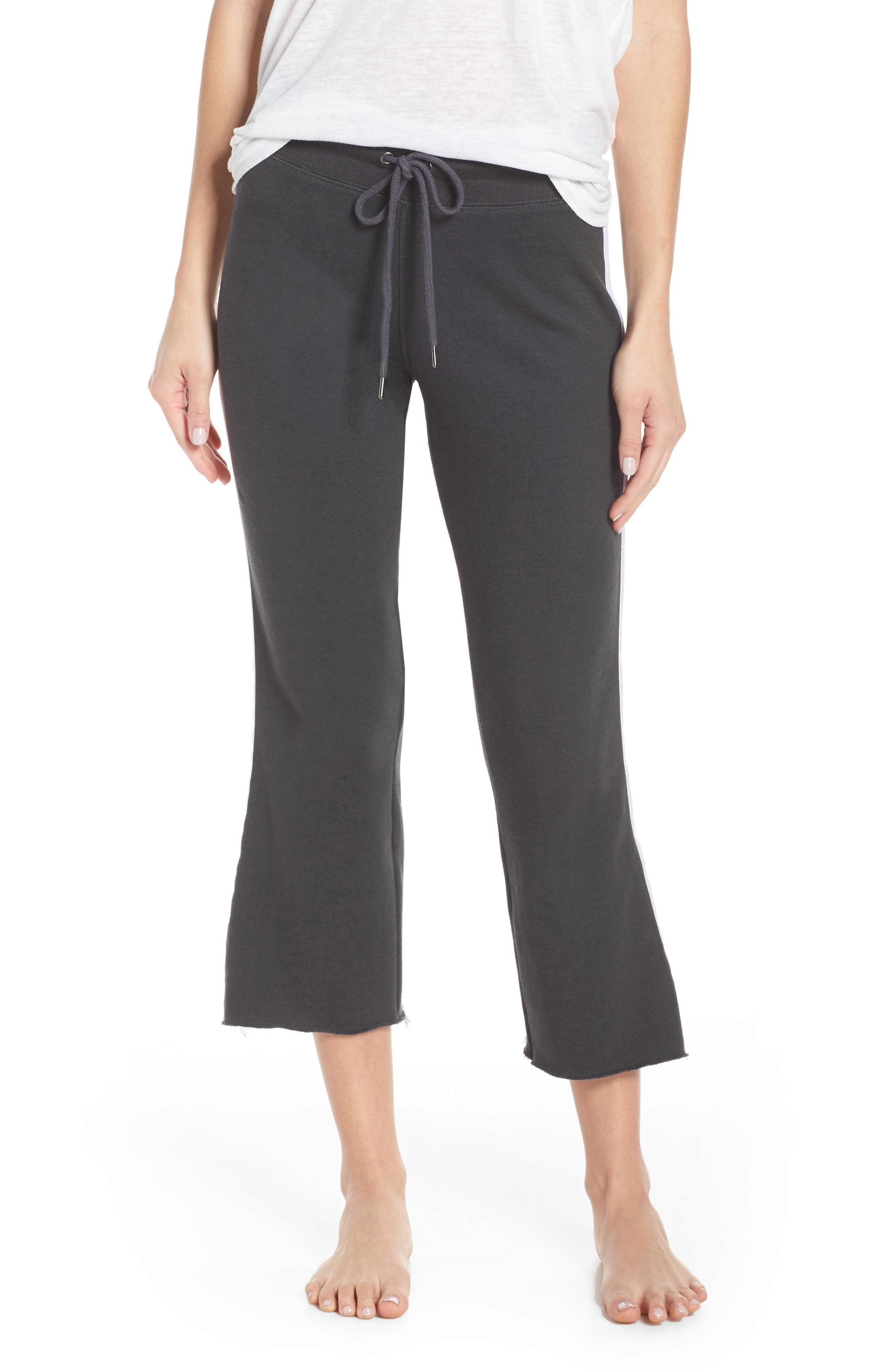 David Lerner Crop Flare Lounge Pants, Black