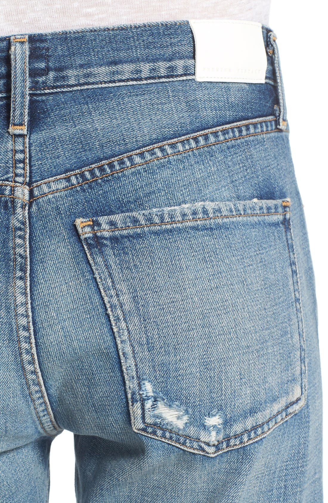 Liya High Waist Slim Boyfriend Jeans,                             Alternate thumbnail 4, color,                             426