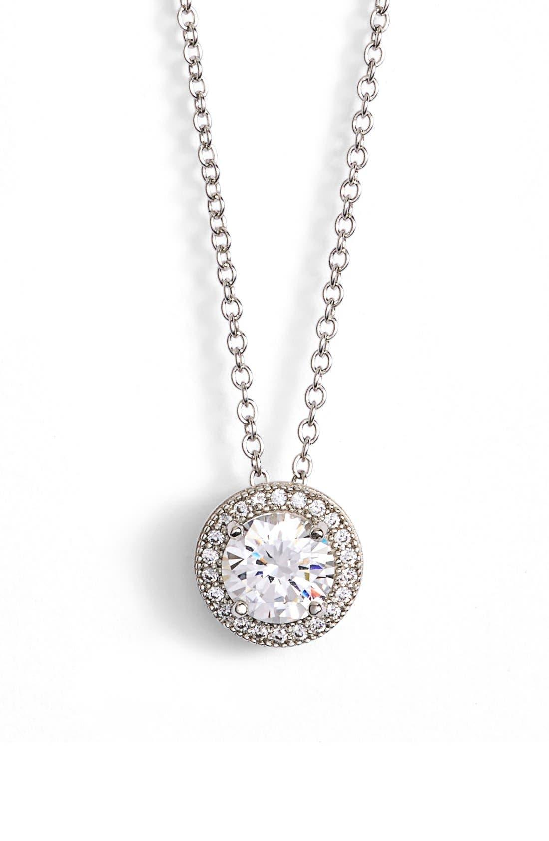 'Lassaire' Pendant Necklace,                         Main,                         color, SILVER/ CLEAR