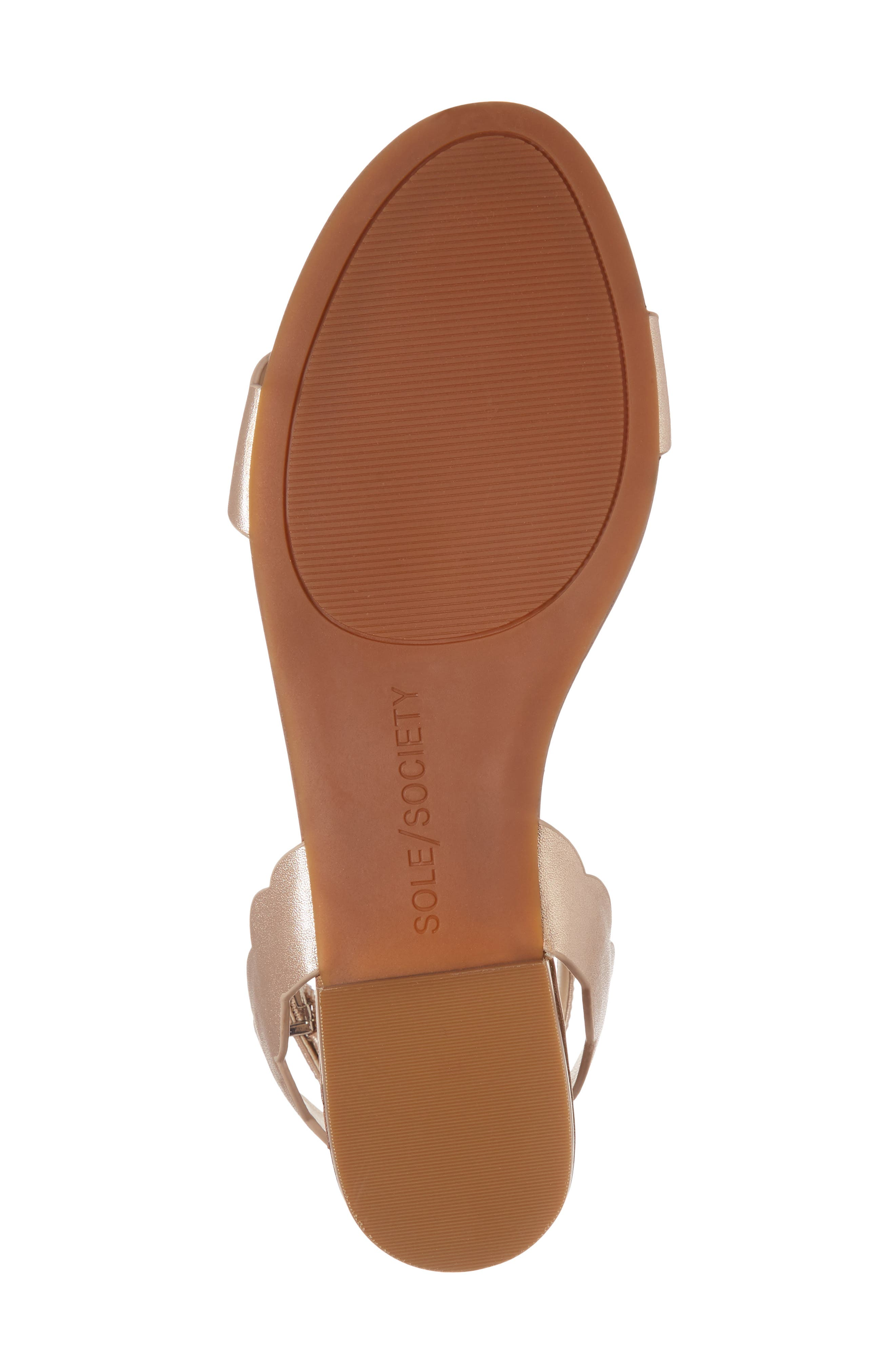 'Odette' Scalloped Ankle Strap Flat Sandal,                             Alternate thumbnail 32, color,