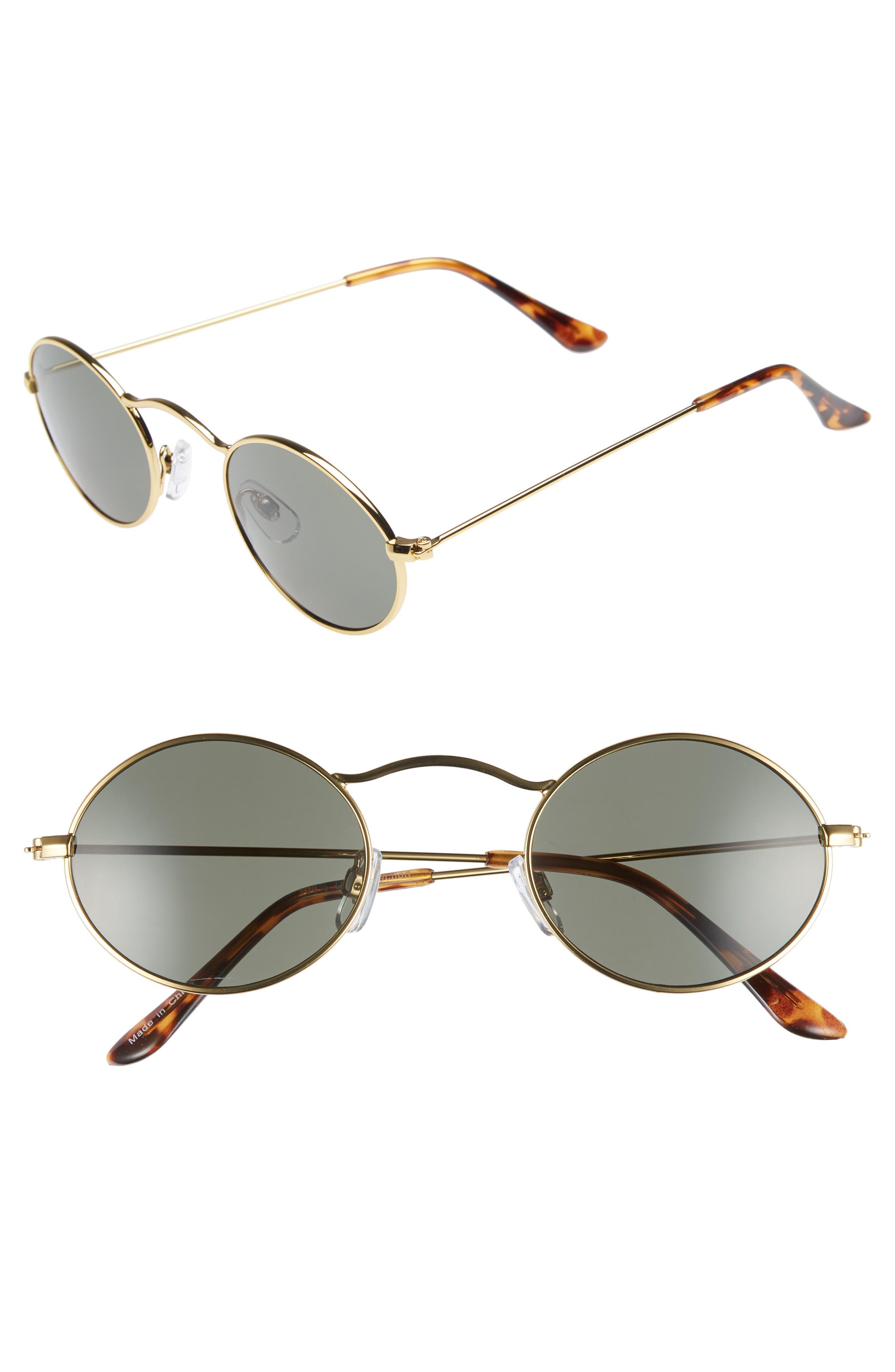 48mm Small Oval Sunglasses,                             Main thumbnail 1, color,                             GOLD/ BLACK