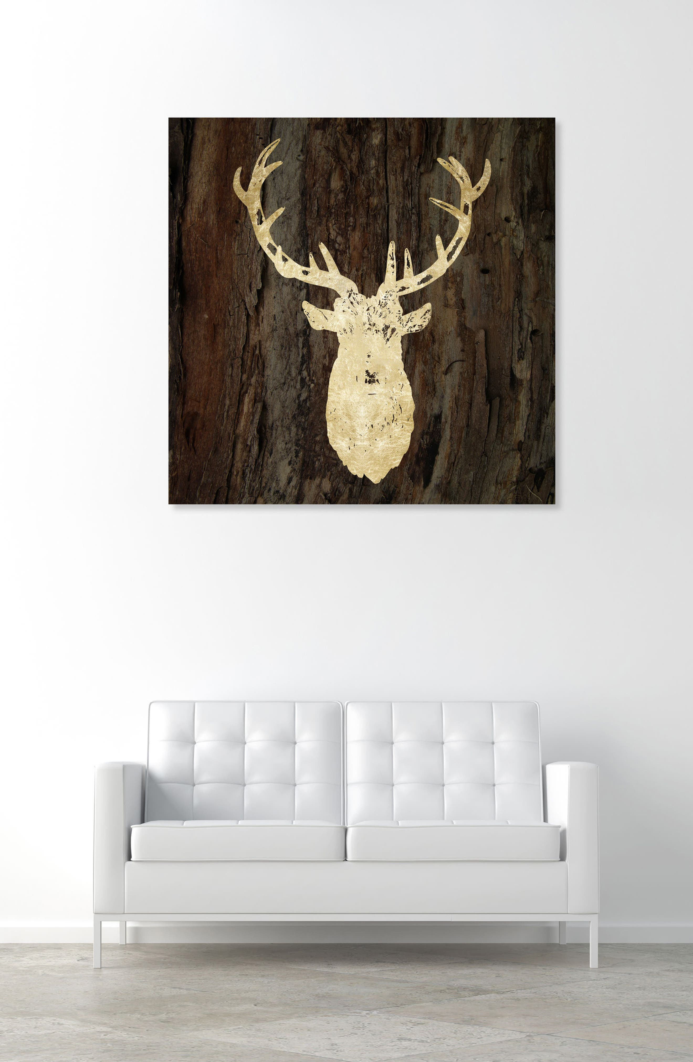Gold Stag Canvas Wall Art,                             Alternate thumbnail 2, color,                             BROWN