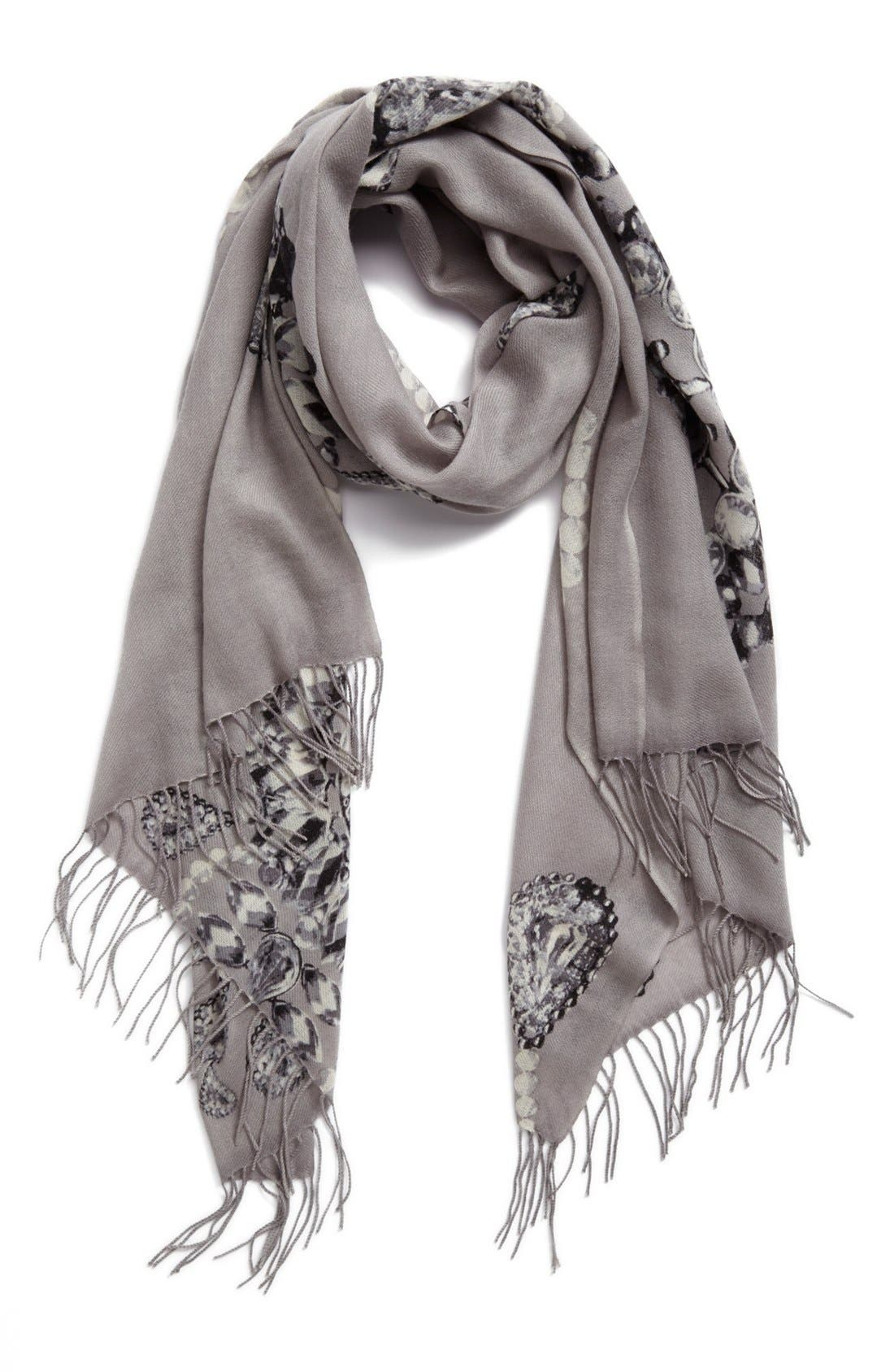 NORDSTROM,                             'Romantic Jewels' Wool & Cashmere Scarf,                             Main thumbnail 1, color,                             020