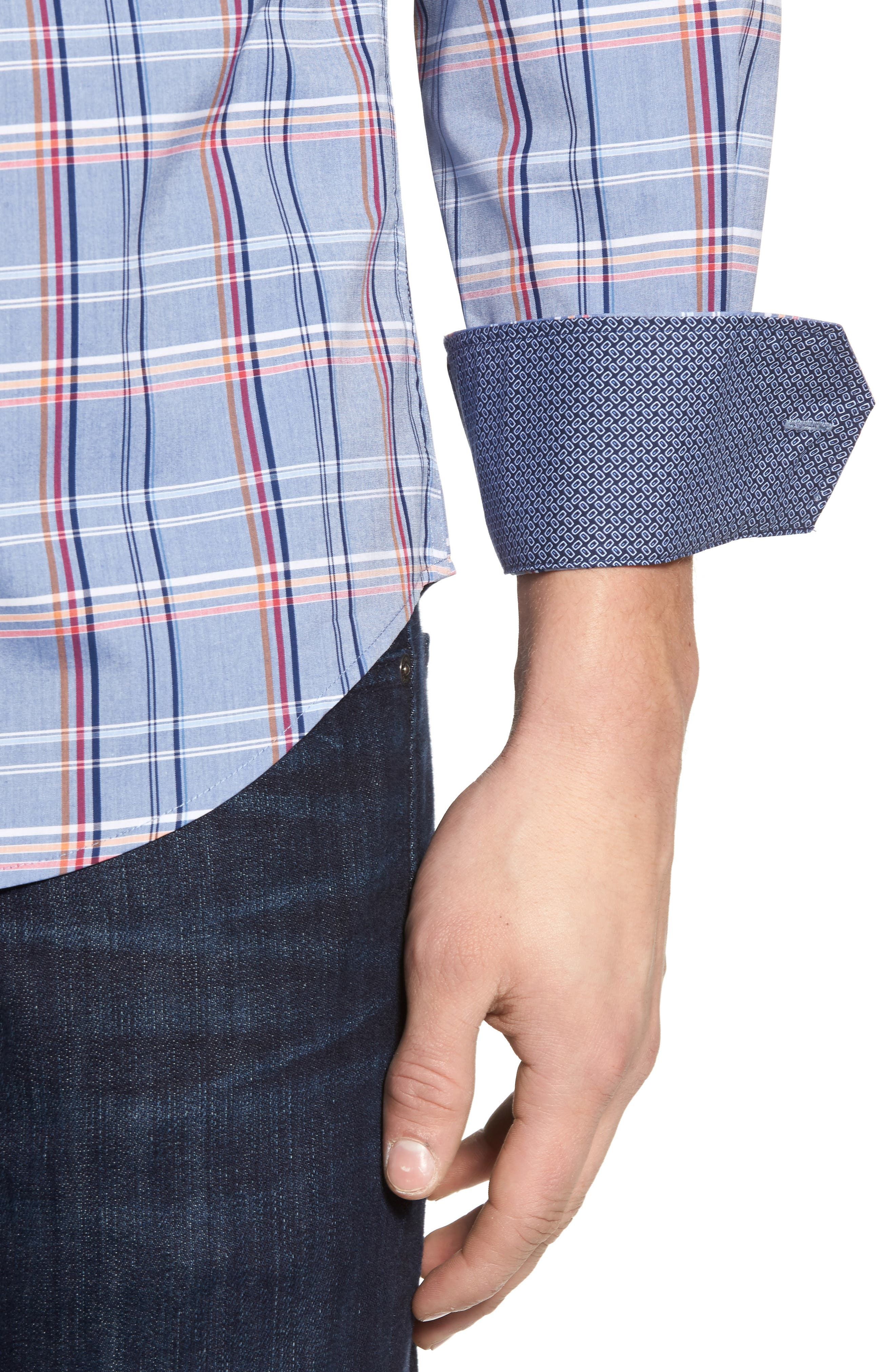 Shaped Fit Plaid Sport Shirt,                             Alternate thumbnail 4, color,
