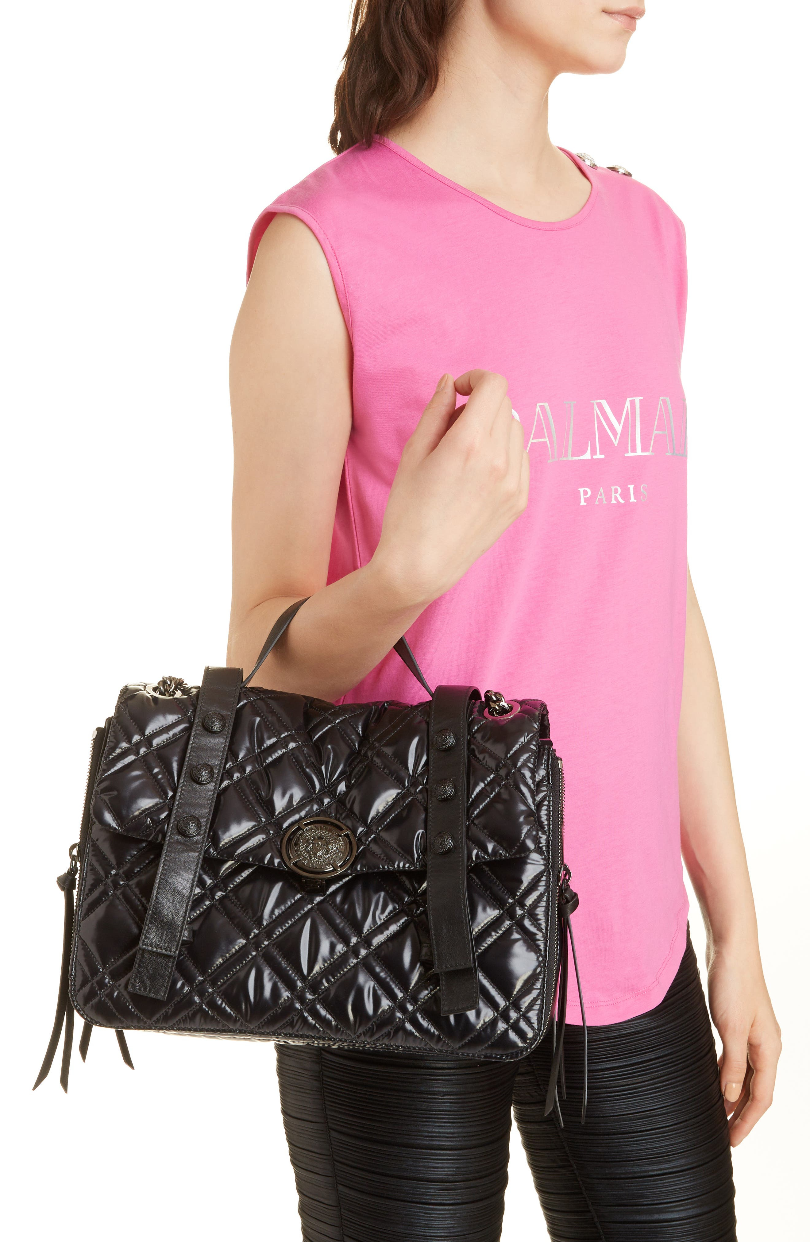 Quilted Faux Leather Shoulder Bag,                             Alternate thumbnail 2, color,                             TRANSPARENT/ NOIR