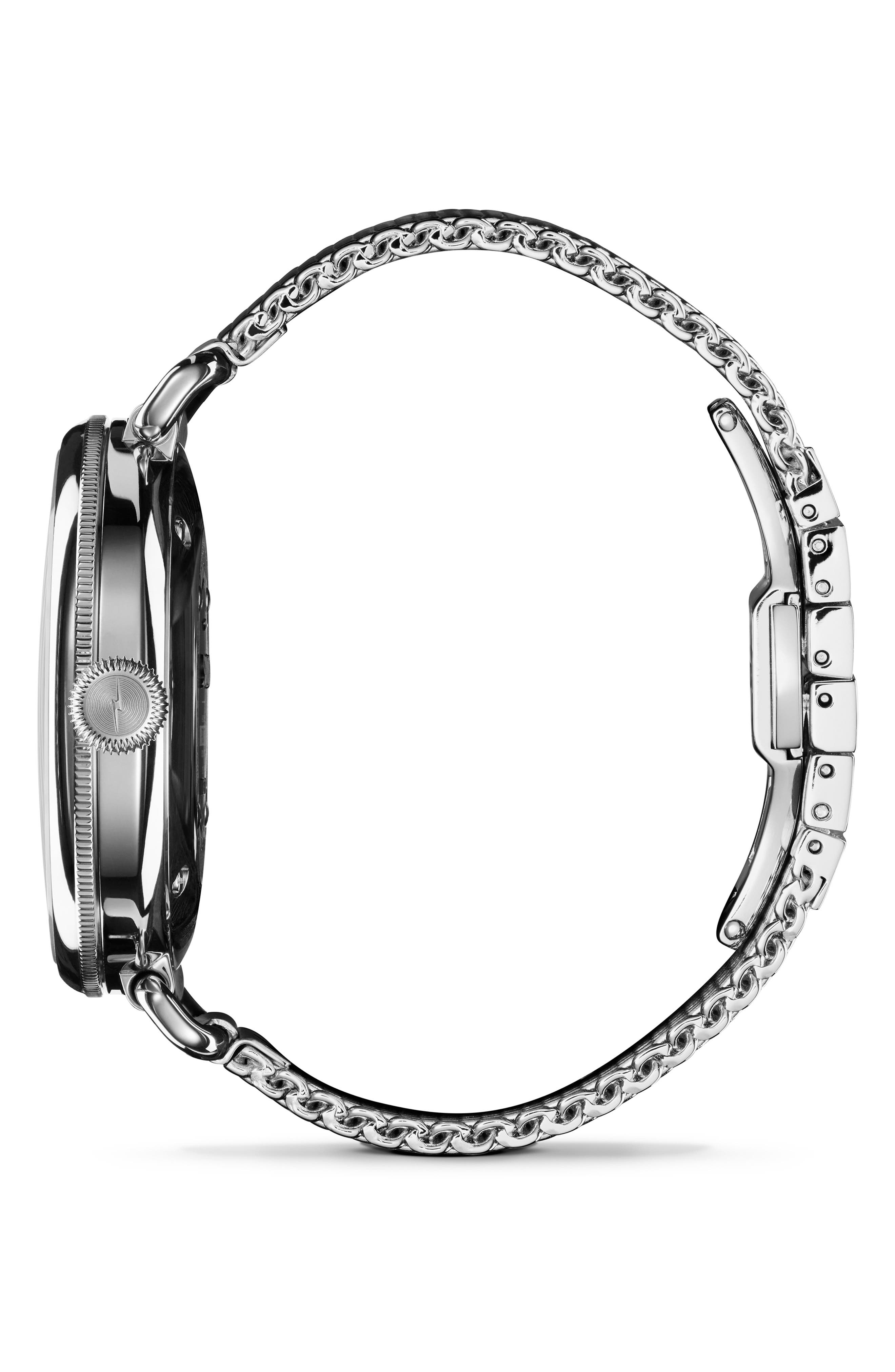 The Canfield Mesh Strap Watch, 38mm,                             Alternate thumbnail 3, color,                             SILVER/ ALABASTER/ SILVER