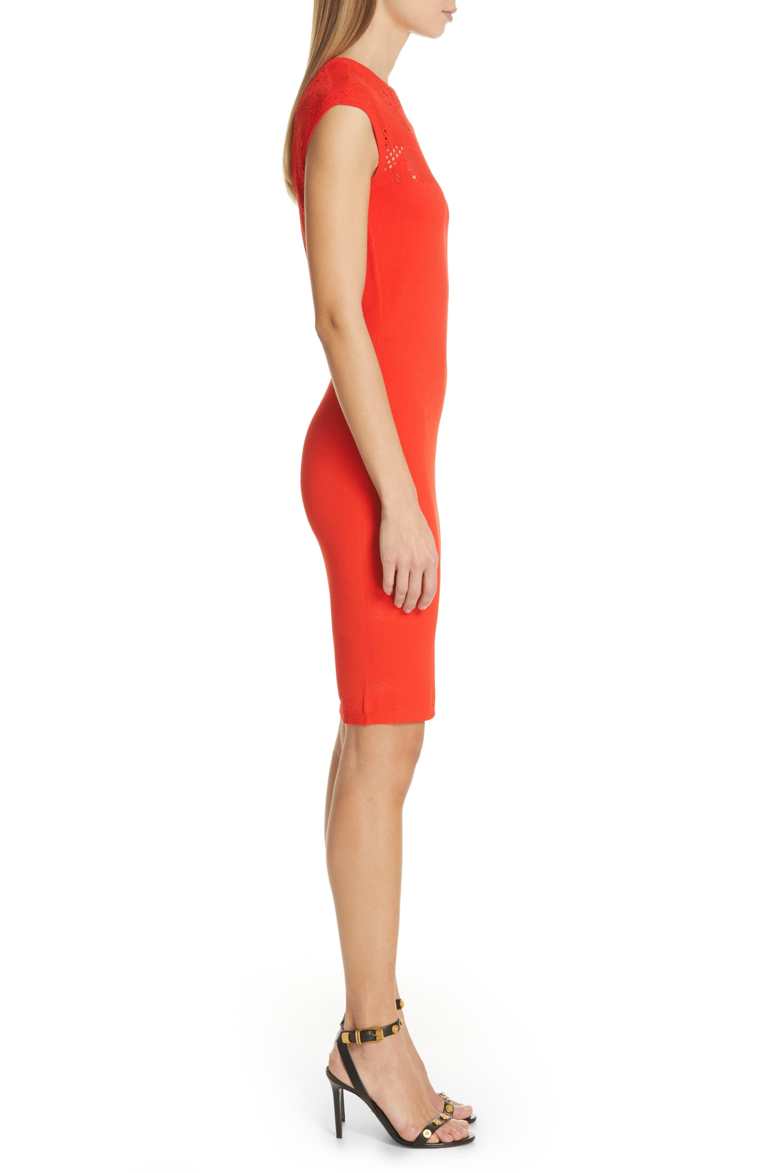 Versace Logo Mesh Panel Body-Con Dress,                             Alternate thumbnail 3, color,                             CORAL